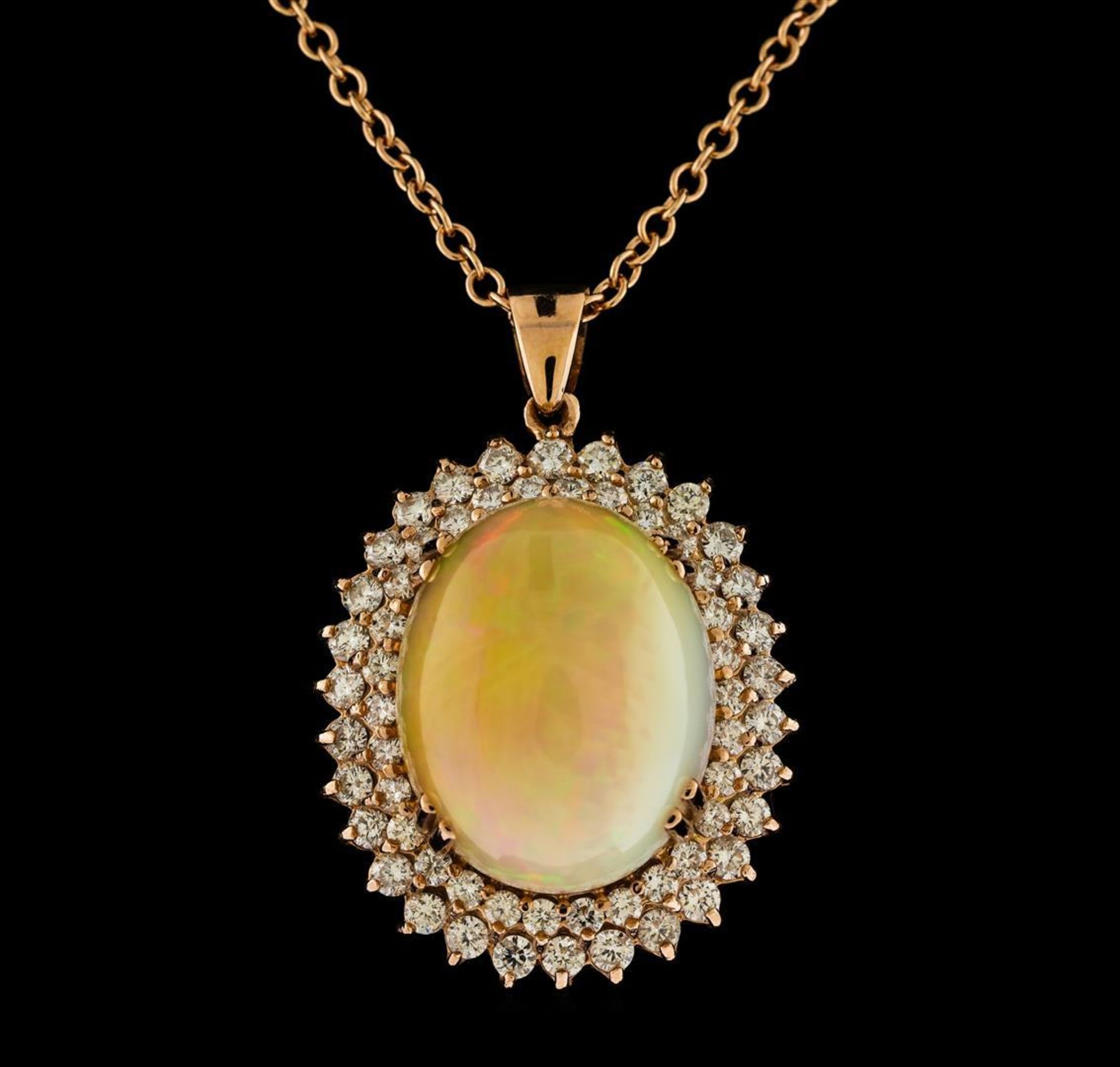 26.39 ctw Opal and Diamond Pendant With Chain - 14KT Rose Gold - Image 2 of 3