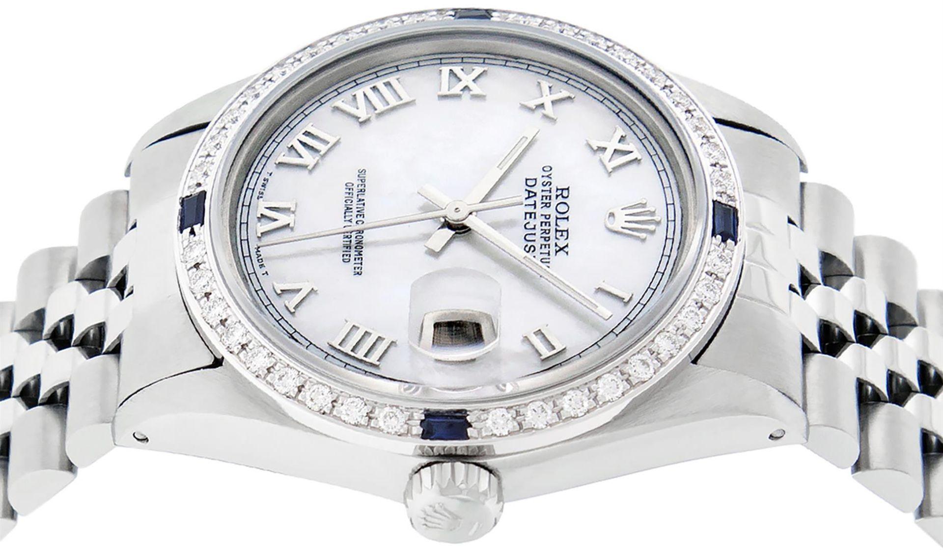 Rolex Mens Stainless Steel MOP Roman 36MM Diamond & Sapphire Datejust Wristwatch - Image 9 of 9