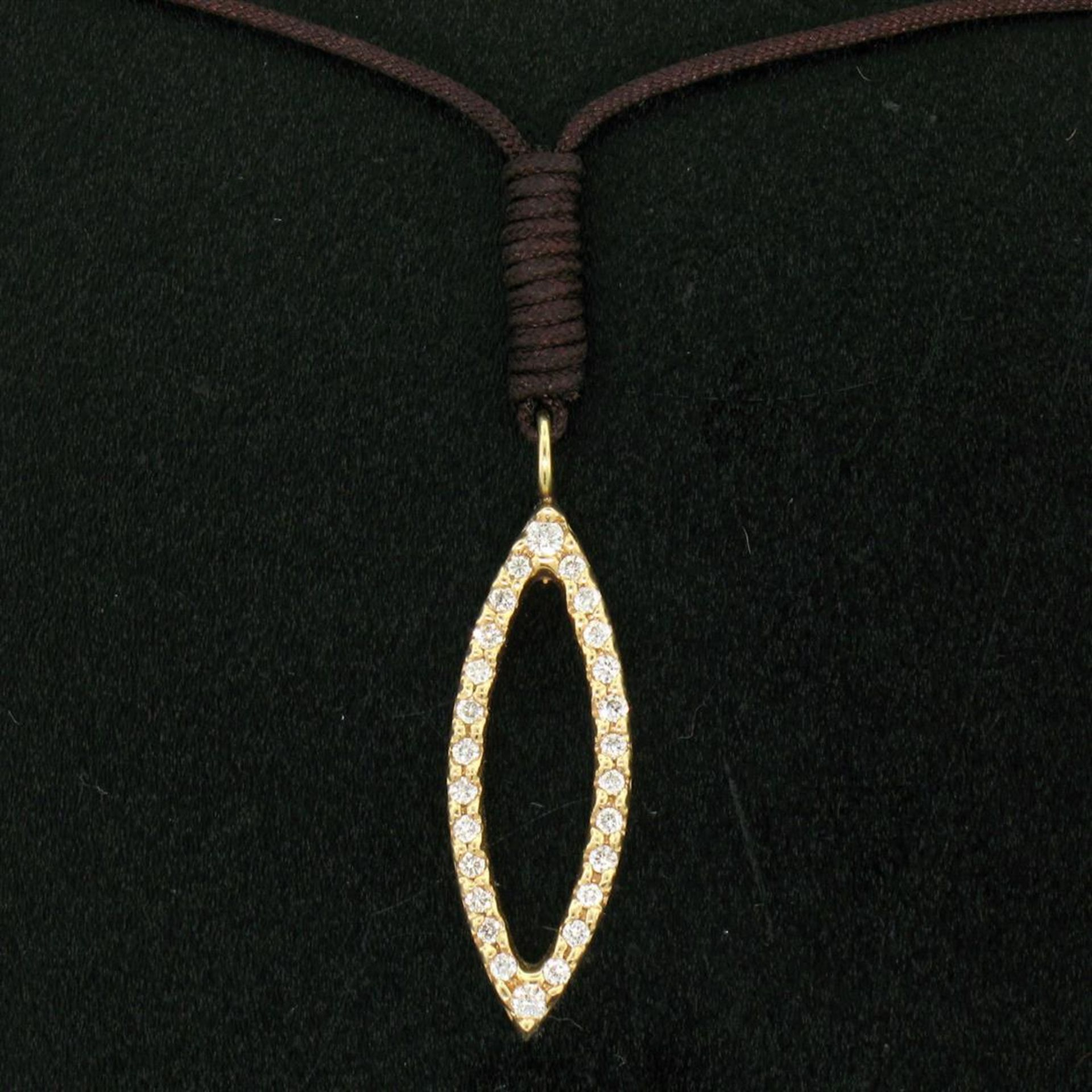 """14k Rose Gold 0.30ctw Diamond Marquise Pendant Necklace w/ 16"""" Brown Cord - Image 3 of 7"""