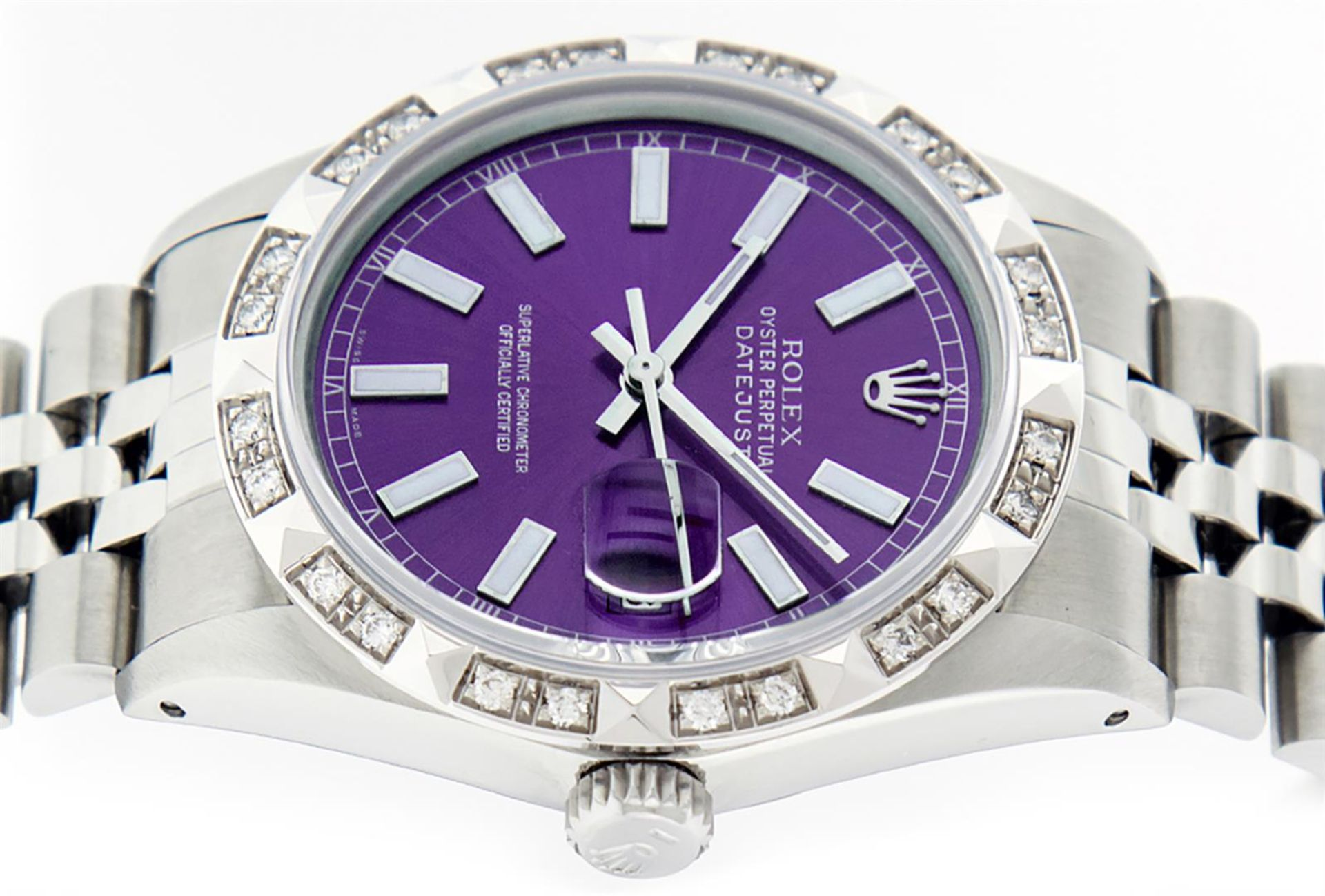 Rolex Mens Stainless Steel 36MM Purple Index Pyramid Diamond Datejust Wristwatch - Image 8 of 9