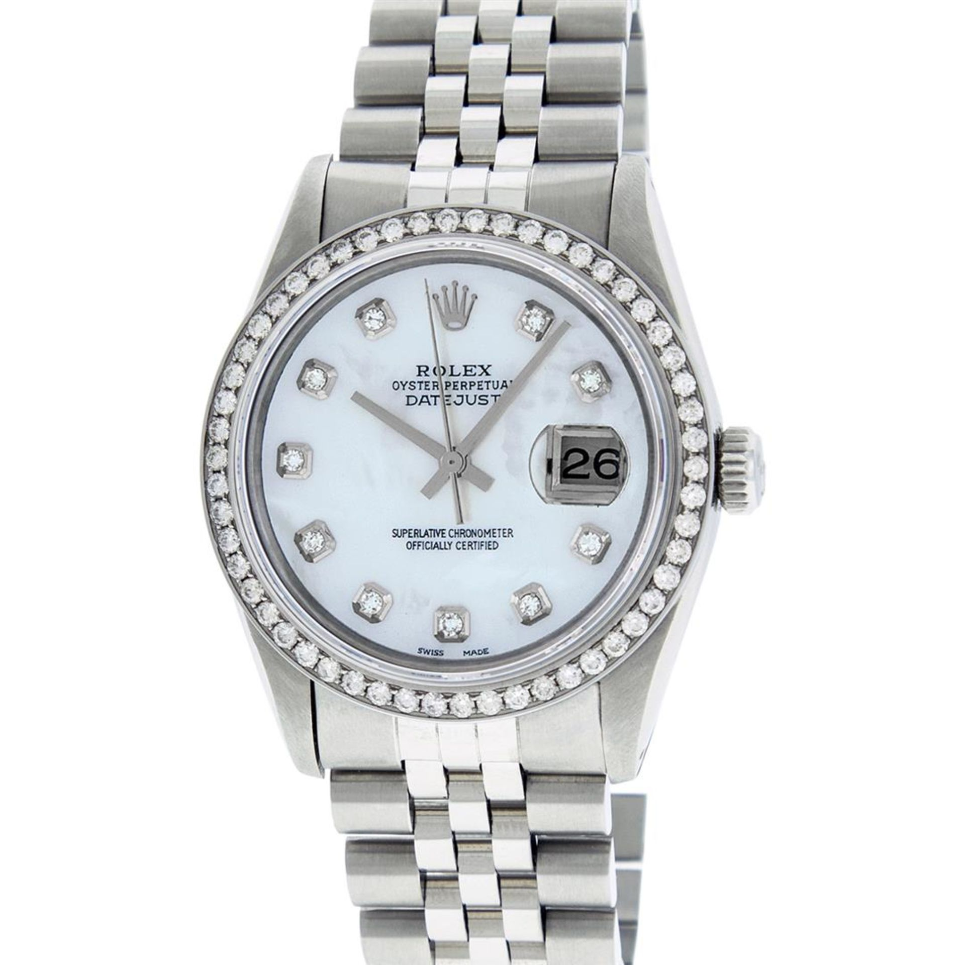 Rolex Mens Stainless Steel Mother Of Pearl Diamond 36MM Oyster Perpetual Datejus - Image 2 of 8