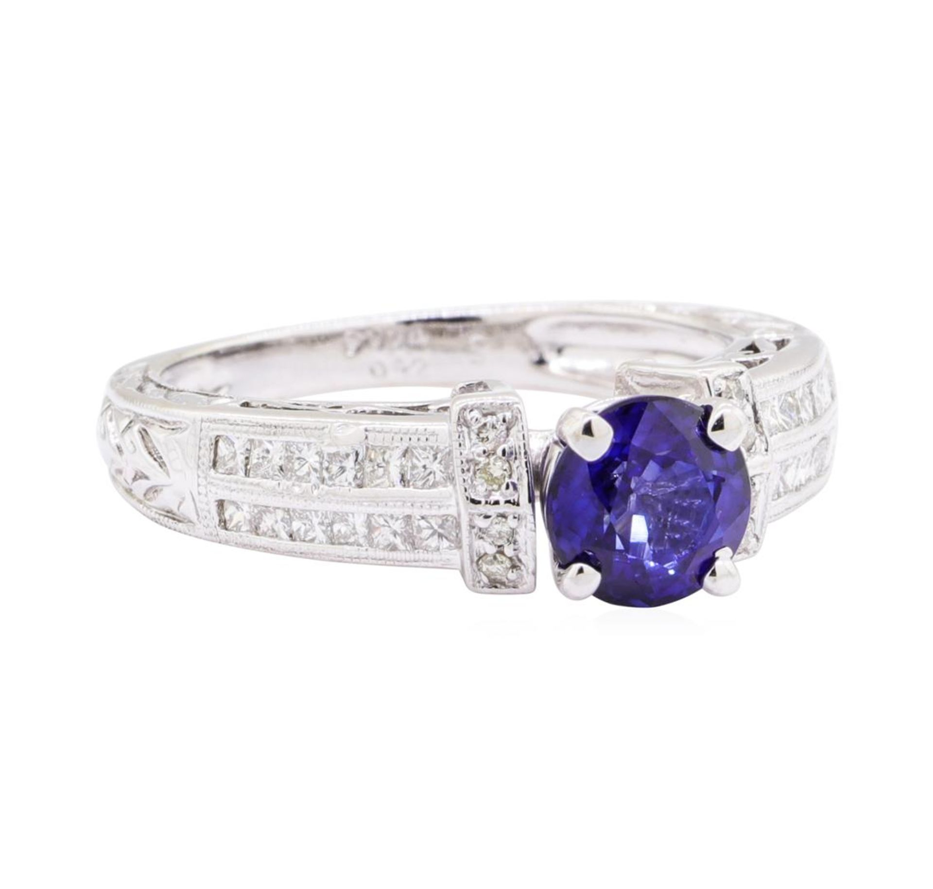 1.36ct Sapphire and Diamond Ring - 14KT White Gold