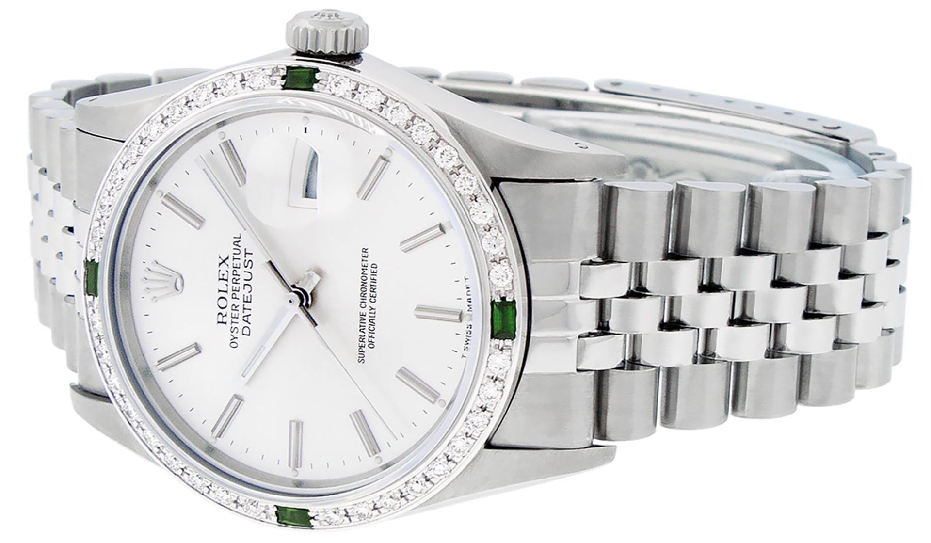 Rolex Mens Stainless Steel Silver Index Diamond 36MM Datejust Wristwatch - Image 2 of 9