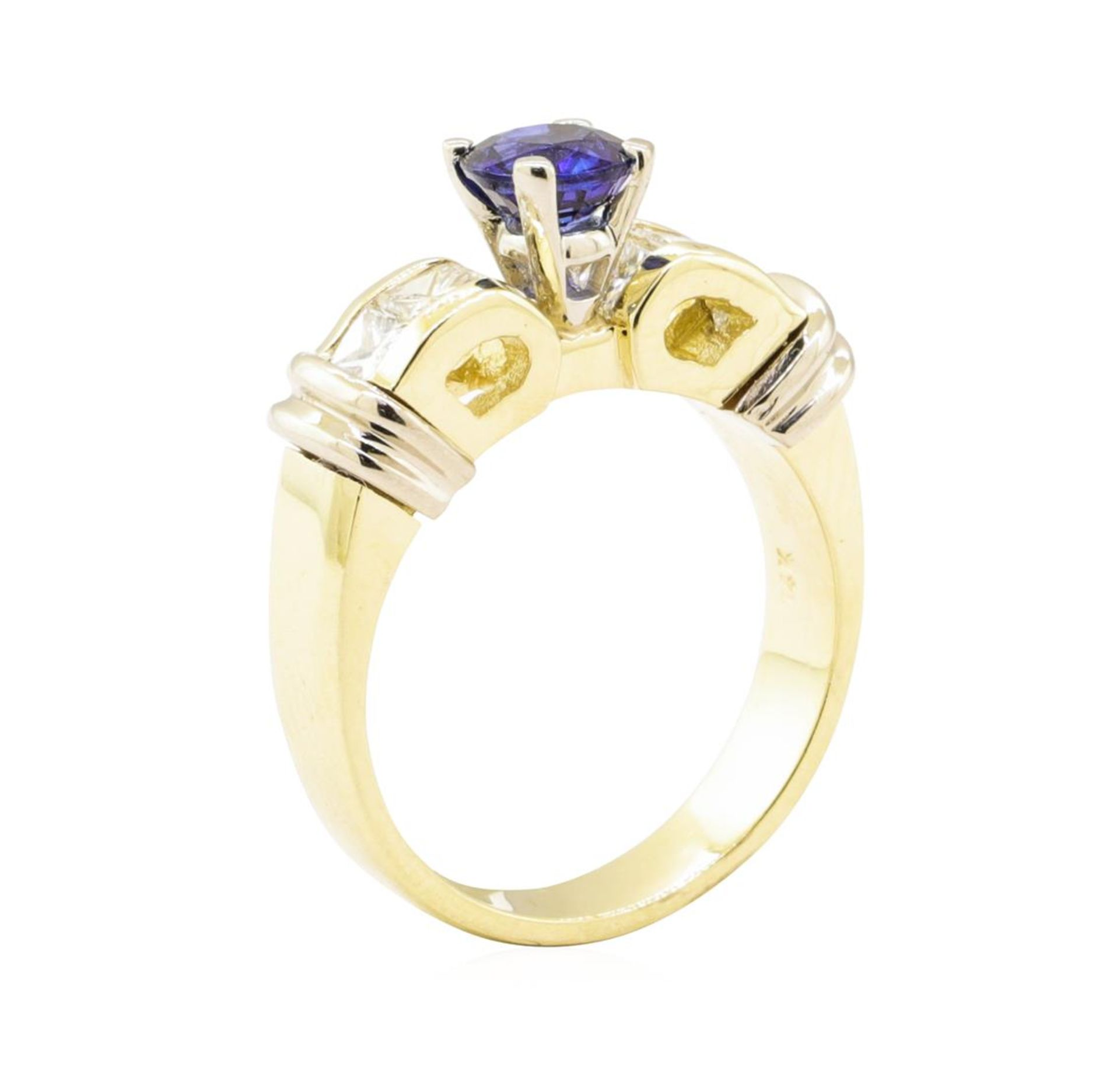 1.67 ctw Blue Sapphire And Diamond Ring - 14KT Yellow And White Gold - Image 4 of 5