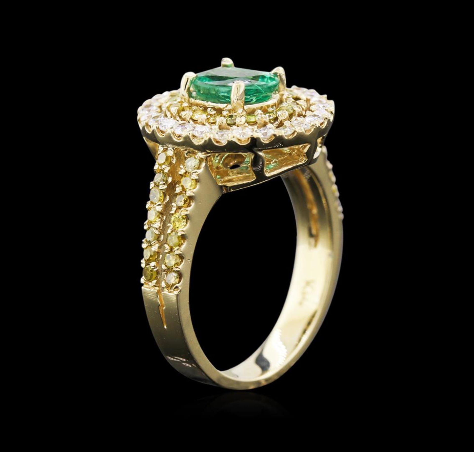 0.88 ctw Emerald and Diamond Ring - 14KT Yellow Gold - Image 3 of 3