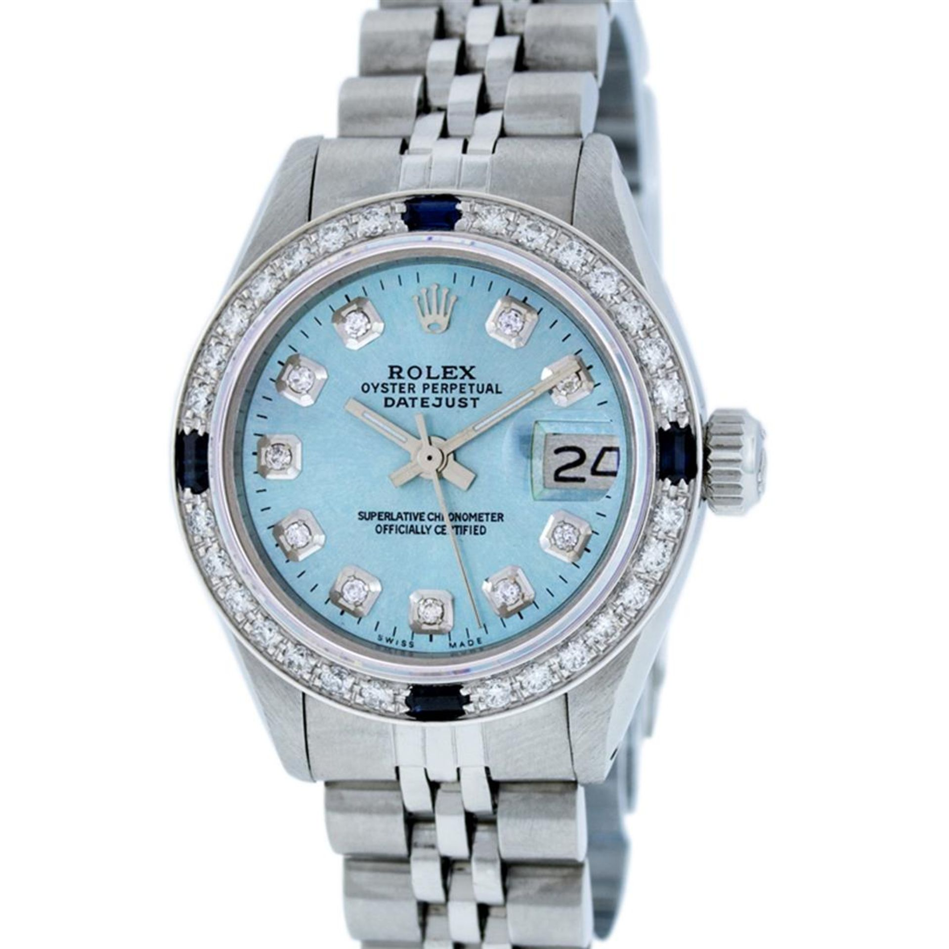 Rolex Ladies Stainless Steel Sky Blue Diamond & Sapphire Datejust Wristwatch - Image 6 of 9
