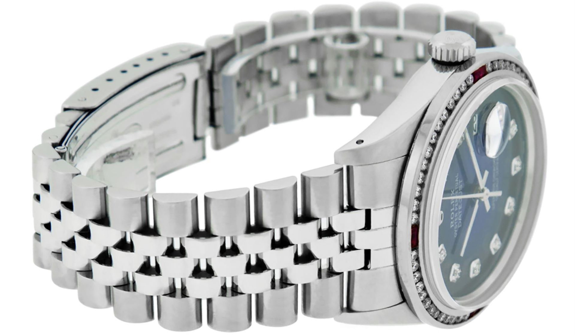 Rolex Mens SS Blue Vignette Diamond & Ruby Channel Set Diamond Datejust - Image 4 of 9