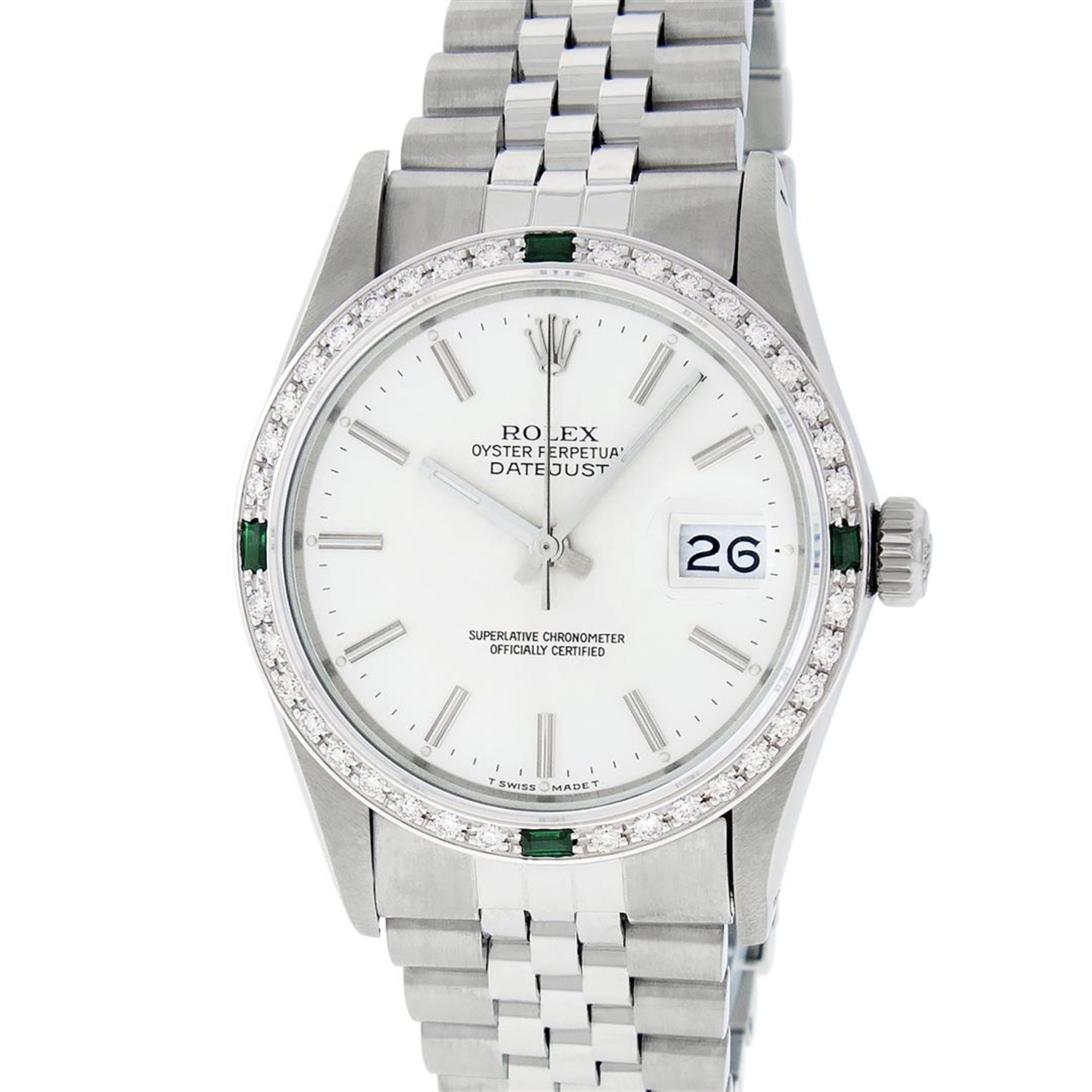 Rolex Mens Stainless Steel Silver Index Diamond 36MM Datejust Wristwatch - Image 5 of 9