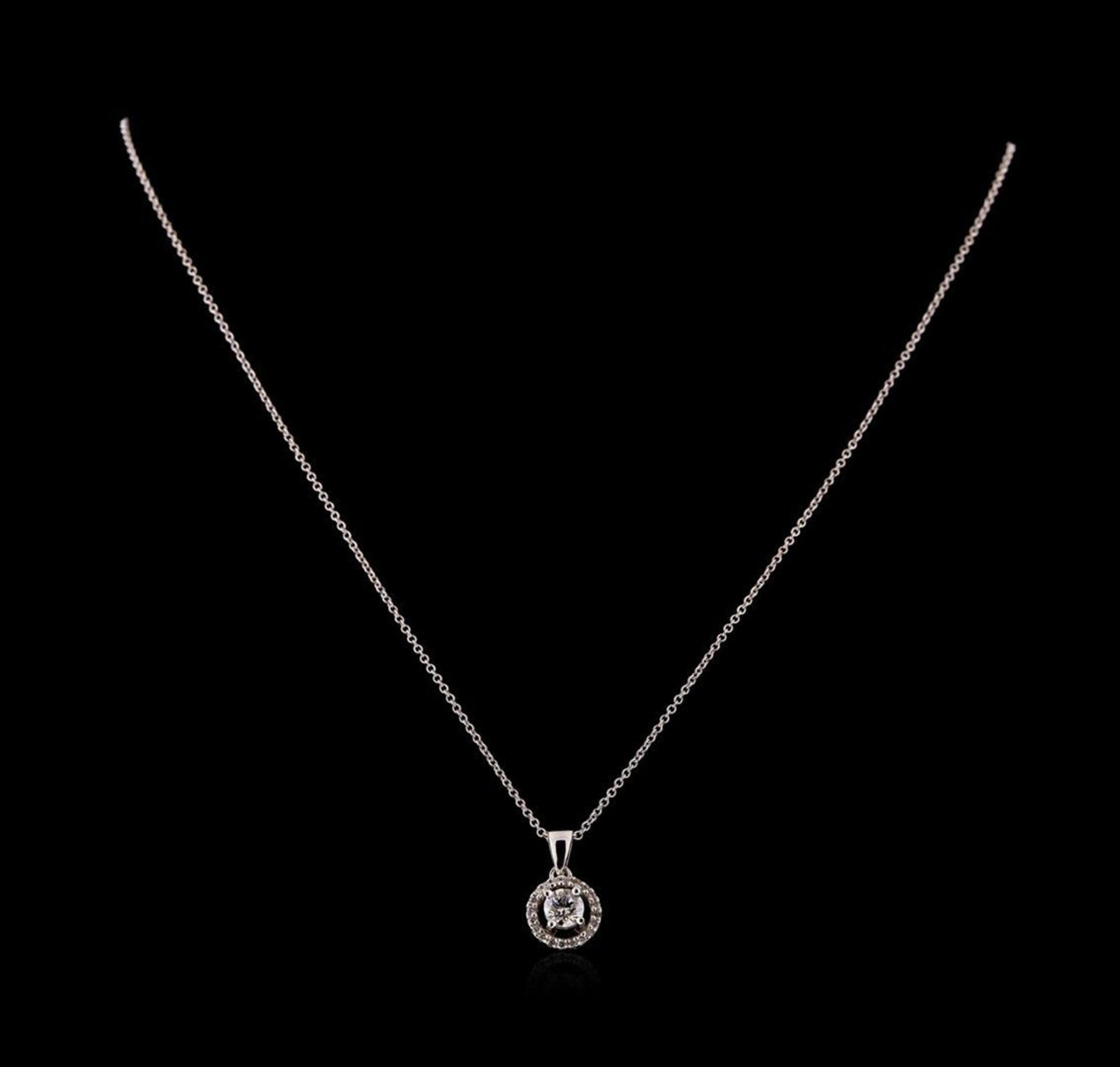 0.66 ctw Diamond Pendant With Chain - 14KT White Gold - Image 2 of 3
