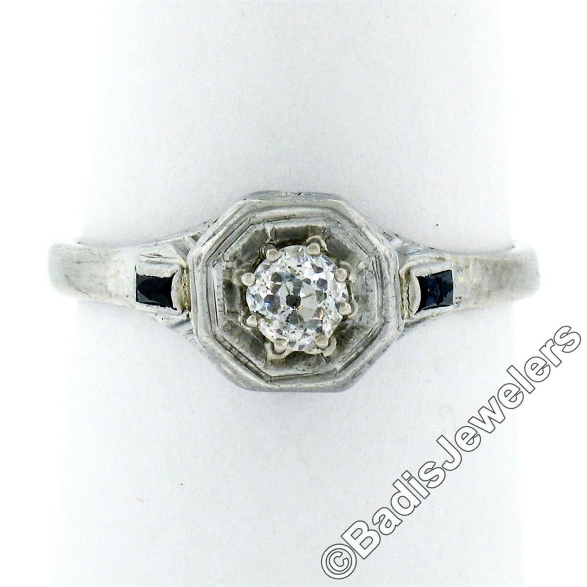 Art Deco 14kt White Gold 0.28ct Diamond Solitaire Engagement Ring - Image 4 of 7