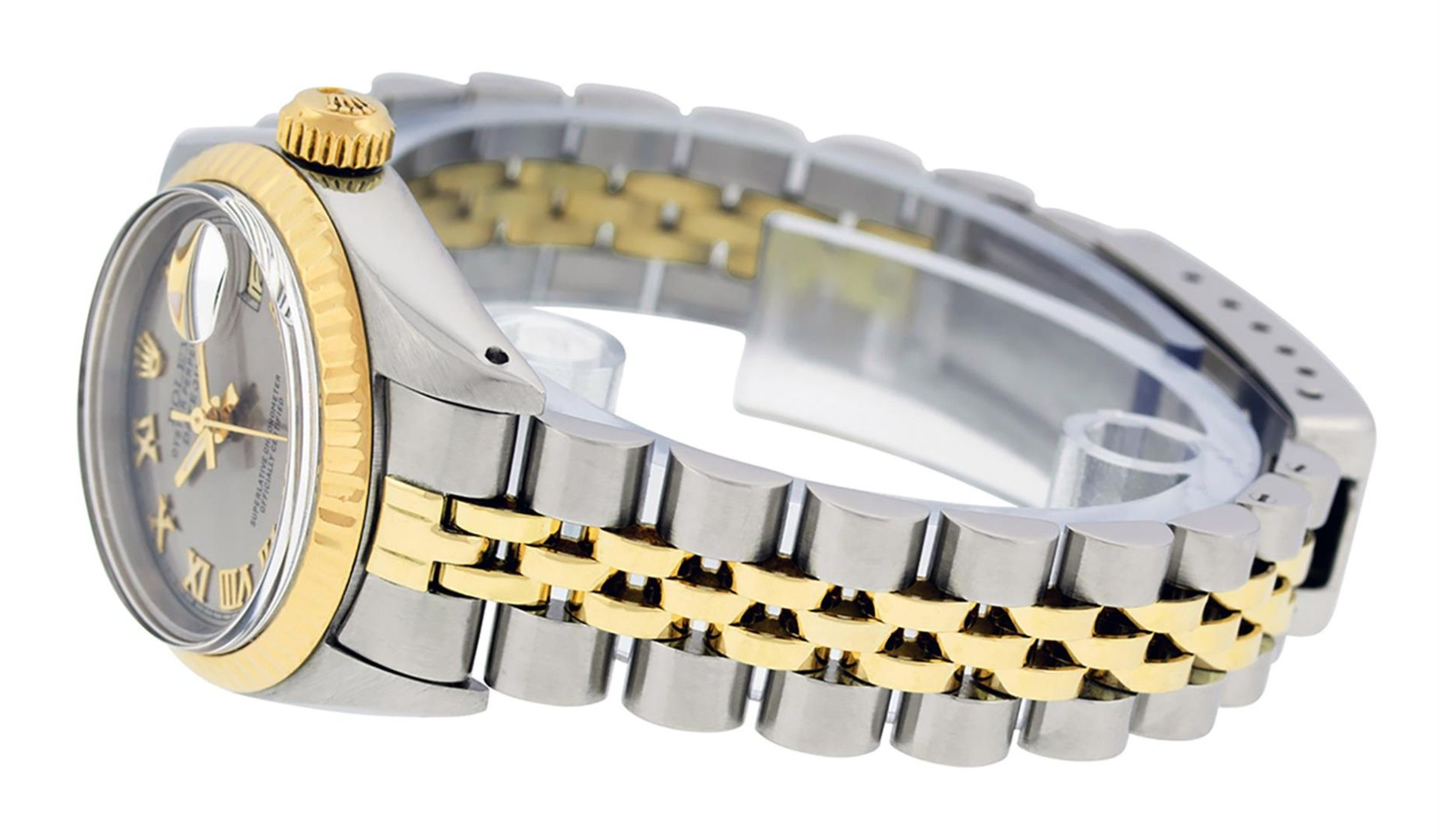 Rolex Ladies 2 Tone Yellow Gold & Stainless Steel Slate Grey Roman Datejust Wris - Image 7 of 9