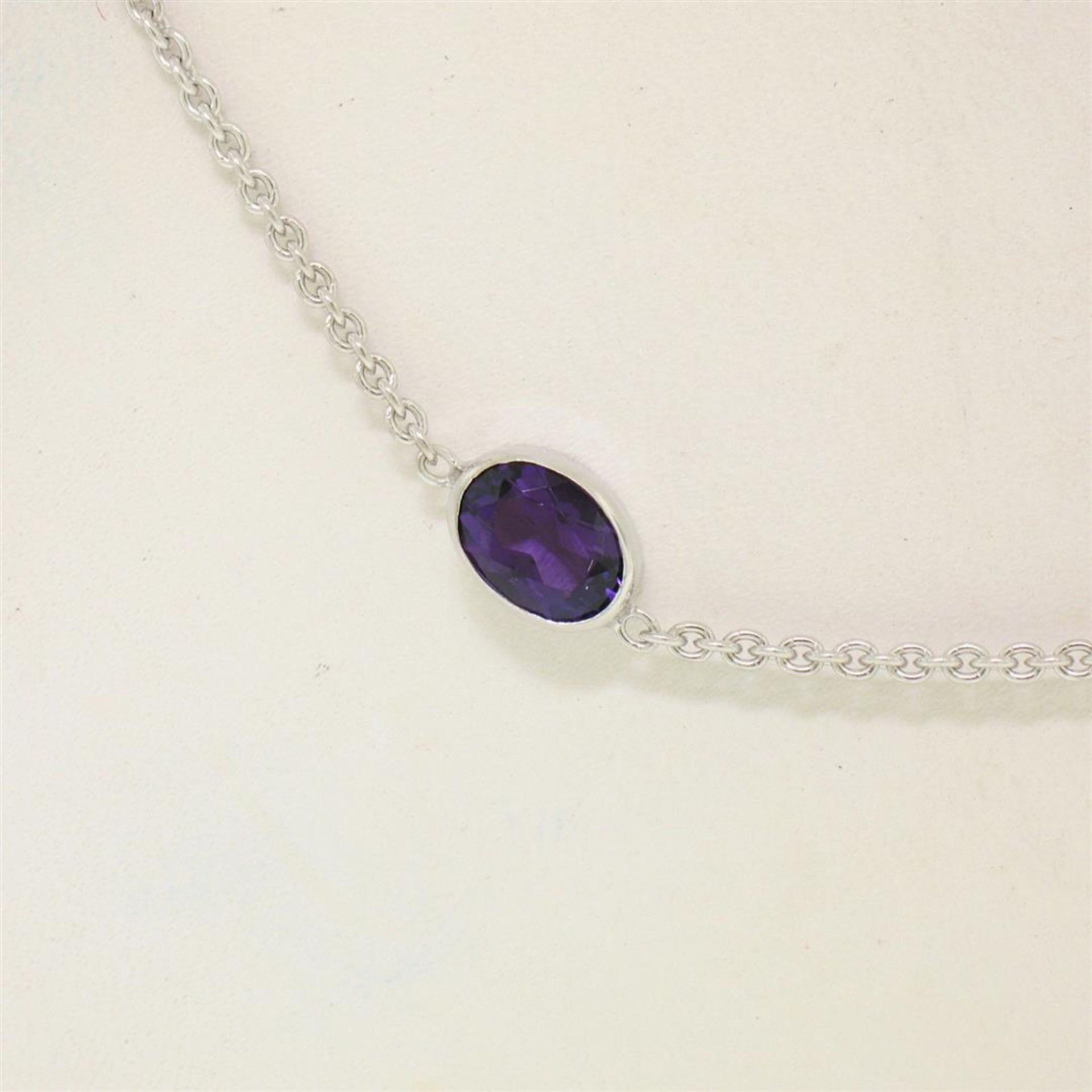 """14k White Gold 8 ctw 8 Station Amethyst by the Yard 20"""" Cable Link Chain Necklac - Image 2 of 7"""