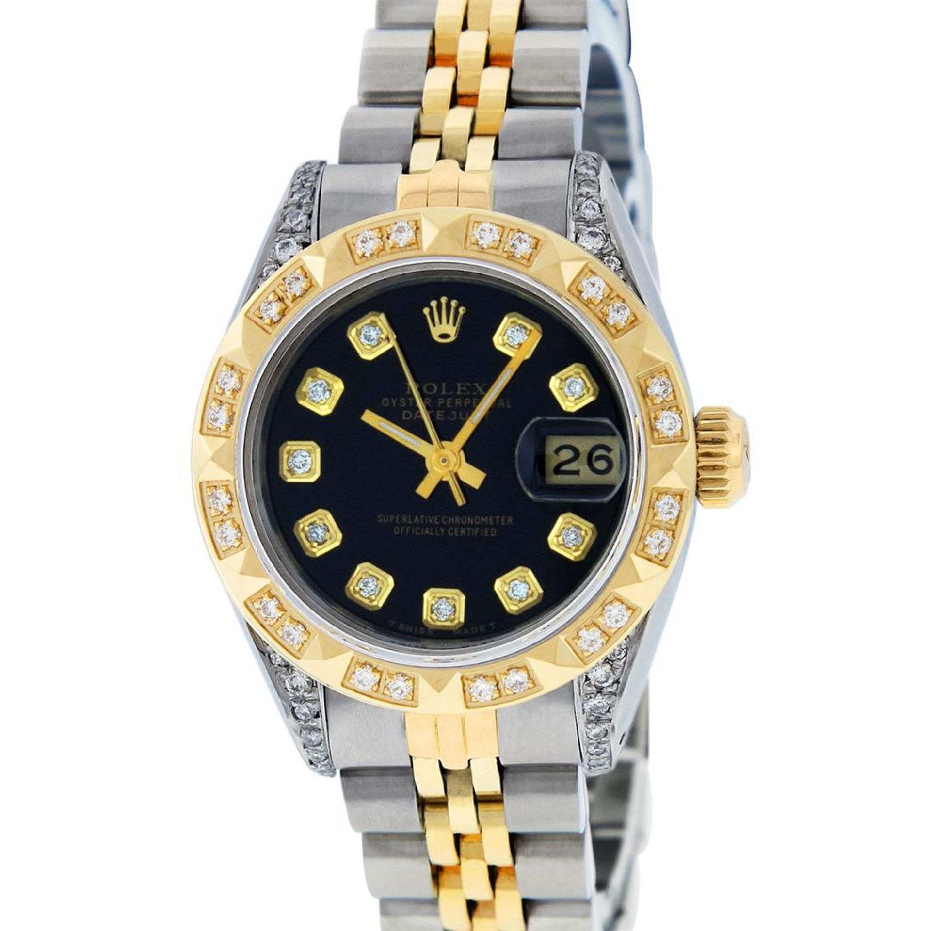 Rolex Ladies 2 Tone Black Lugs & Pyramid Diamond Datejust Wriswatch - Image 2 of 7
