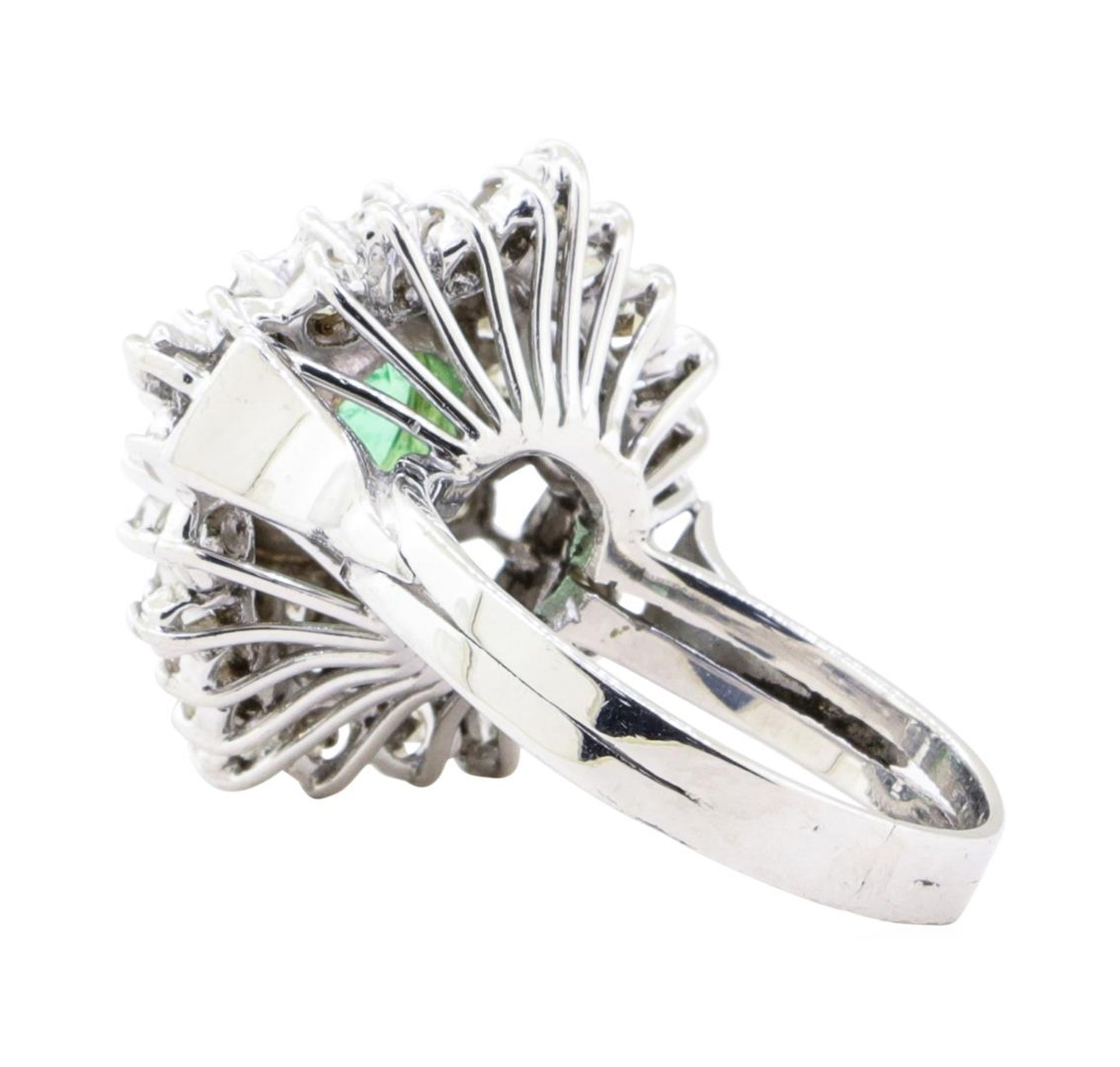 2.84 ctw Emerald And Diamond Double Halo Ring - 14KT White Gold - Image 3 of 5