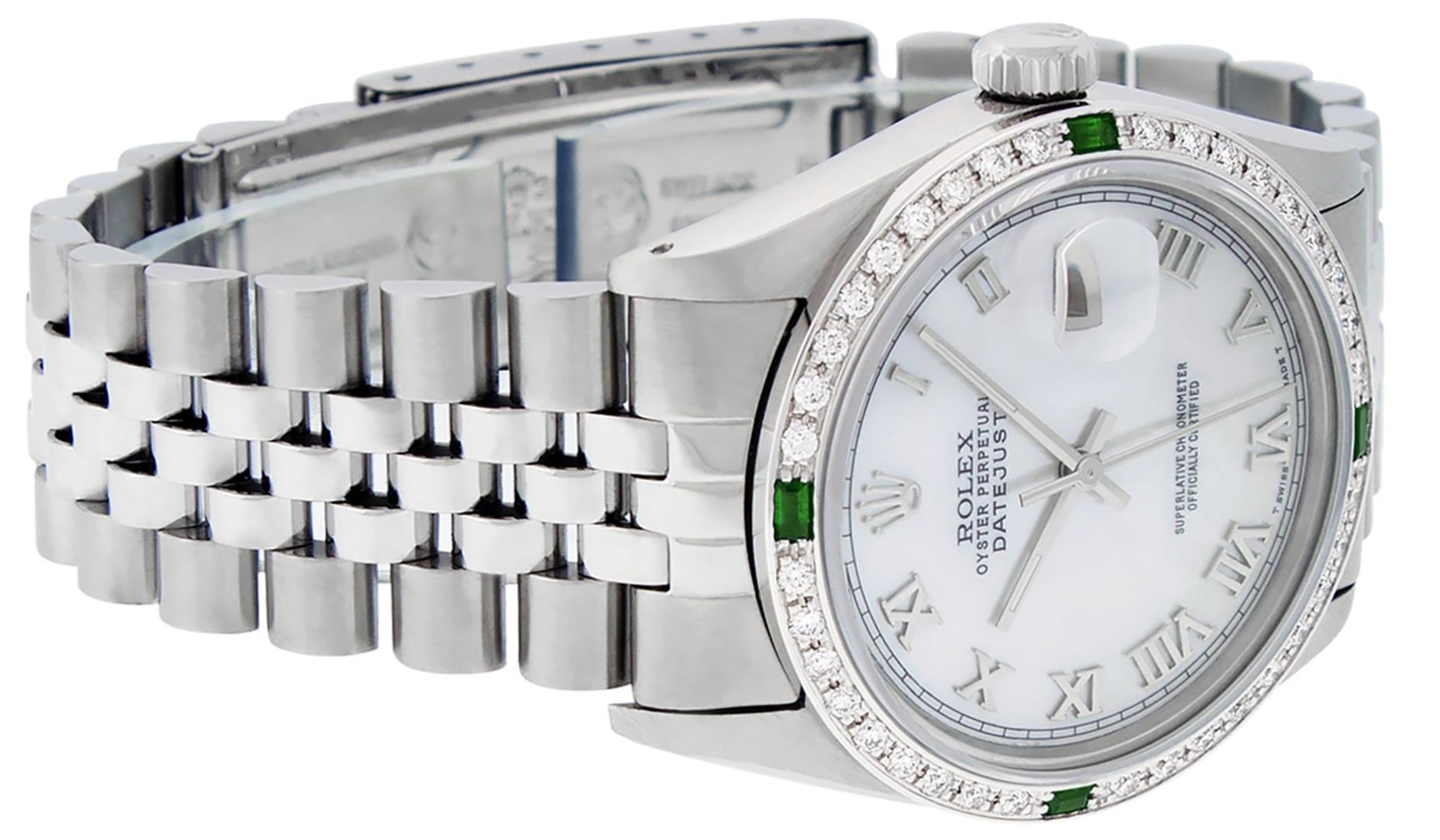 Rolex Mens Stainless Steel Silver MOP Roman 36MM Diamond & Emerald Datejust - Image 5 of 9