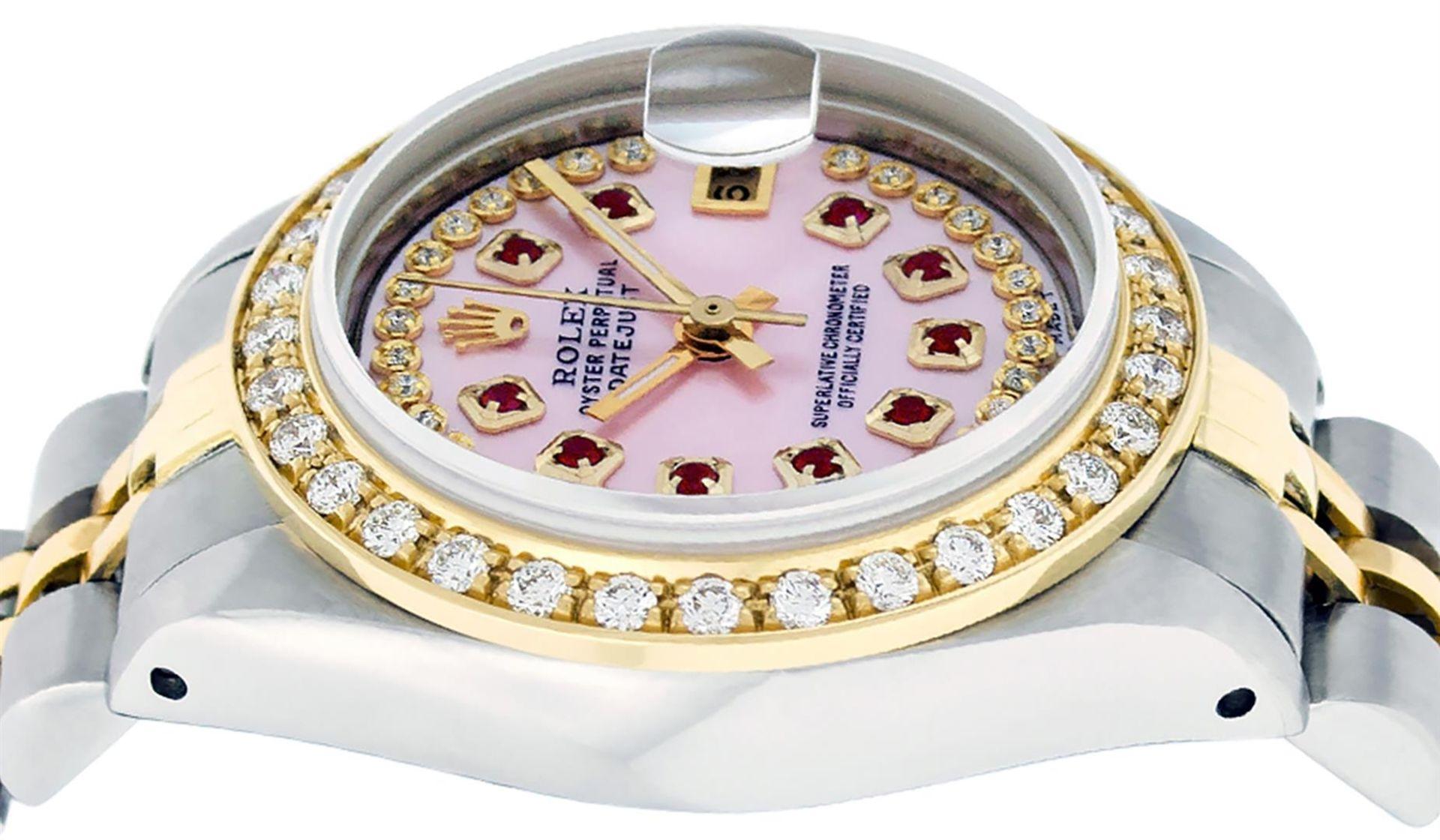 Rolex Ladies 2 Tone Pink MOP Ruby String Diamond Datejust Wristwatch - Image 4 of 9