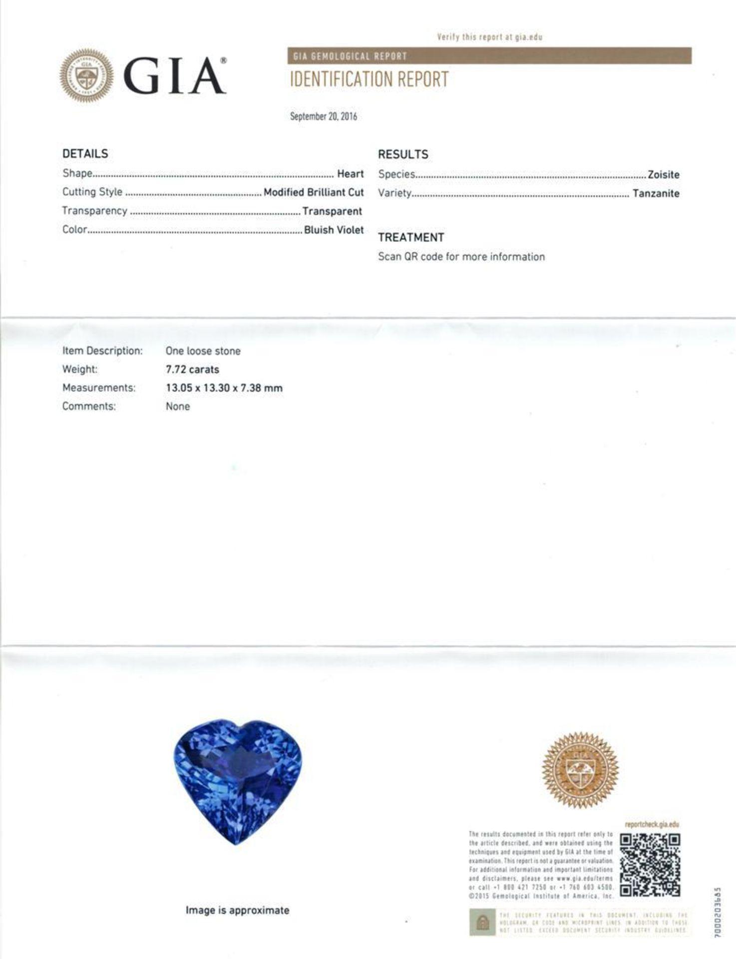 GIA Cert 7.72 ctw Tanzanite and Diamond Ring - 14KT White Gold - Image 6 of 6