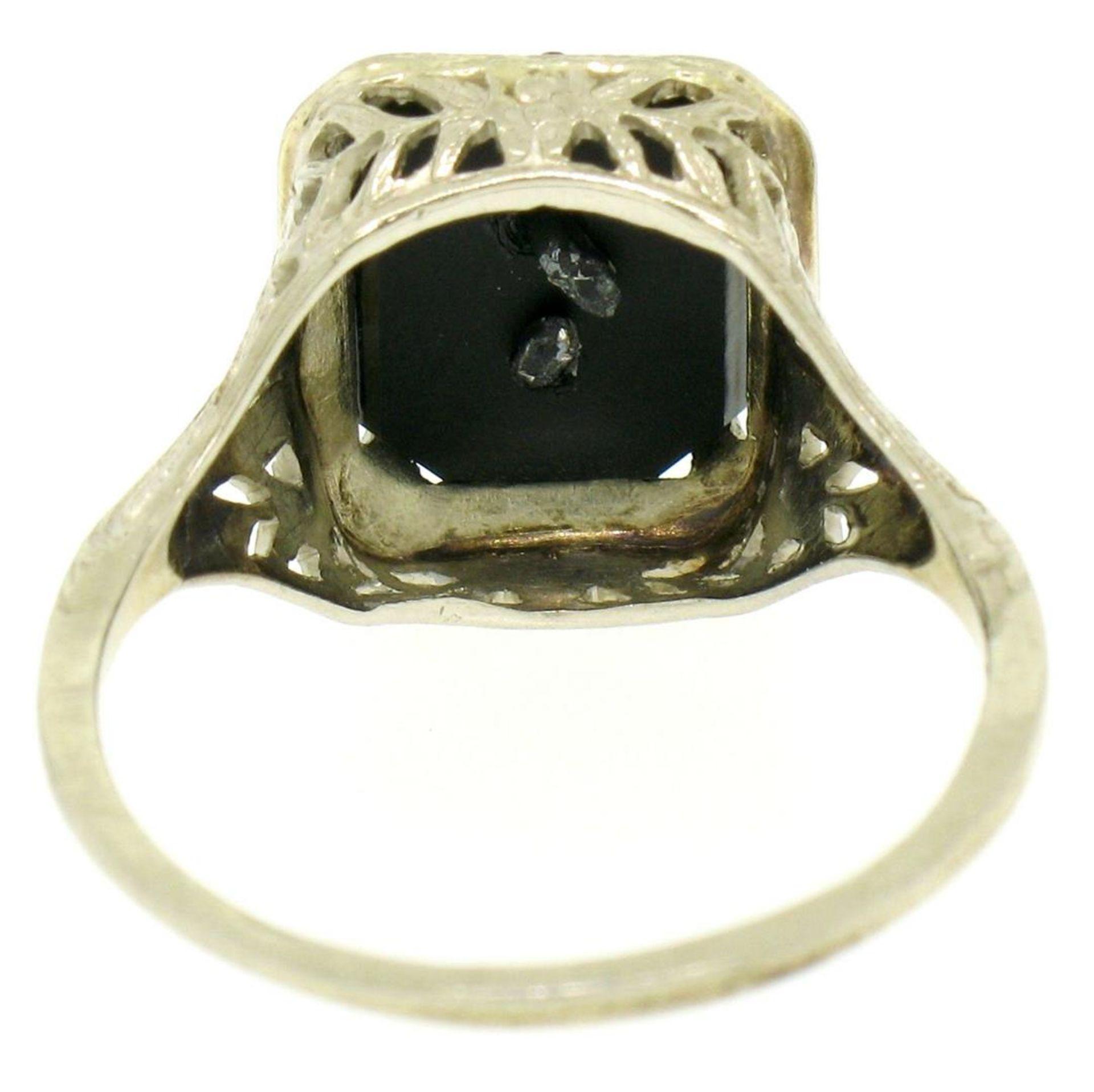 1925 14k White Gold Prong Set Black Onyx Filigree Dinner Ring - Image 5 of 8