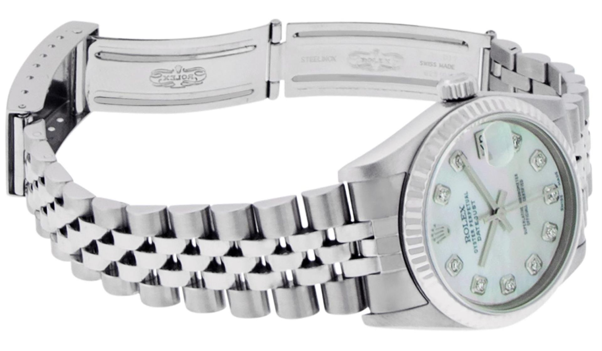 Rolex Womens Midsize Quickset 31mm MOP Diamond Stainless Steel Datejust Wriswatc - Image 9 of 9