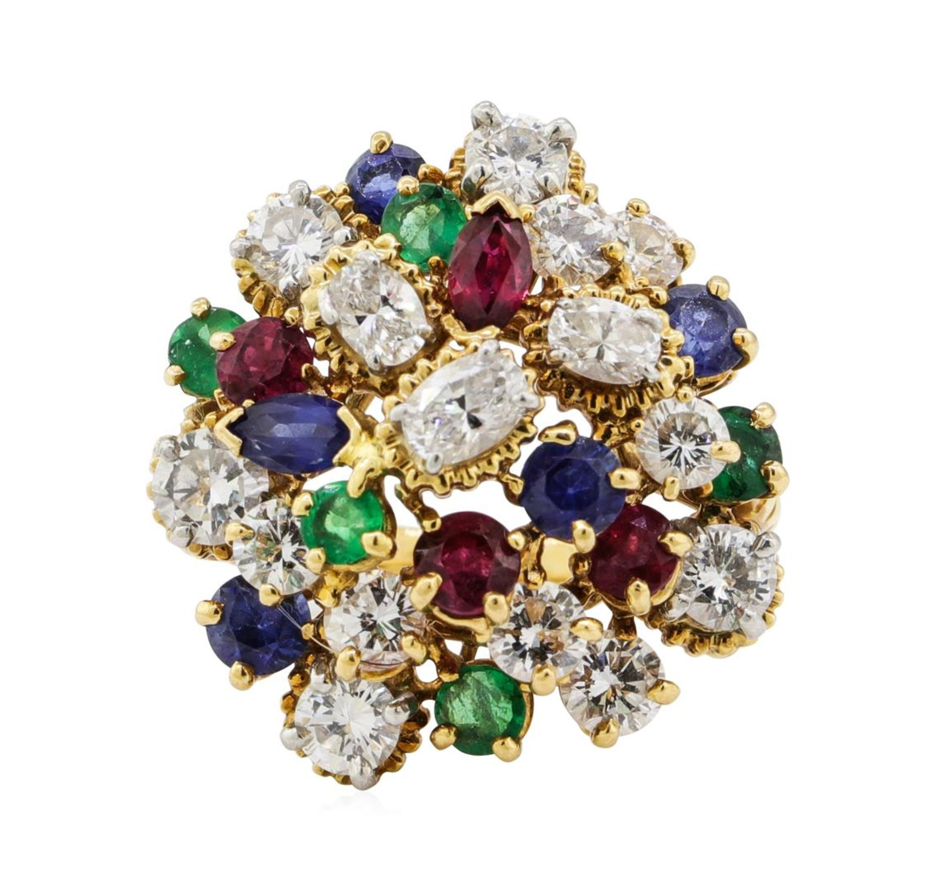 7.08 ctw Ruby, Emerald, Sapphire, and Diamond Ring - 18KT Yellow Gold and Platin - Image 2 of 6