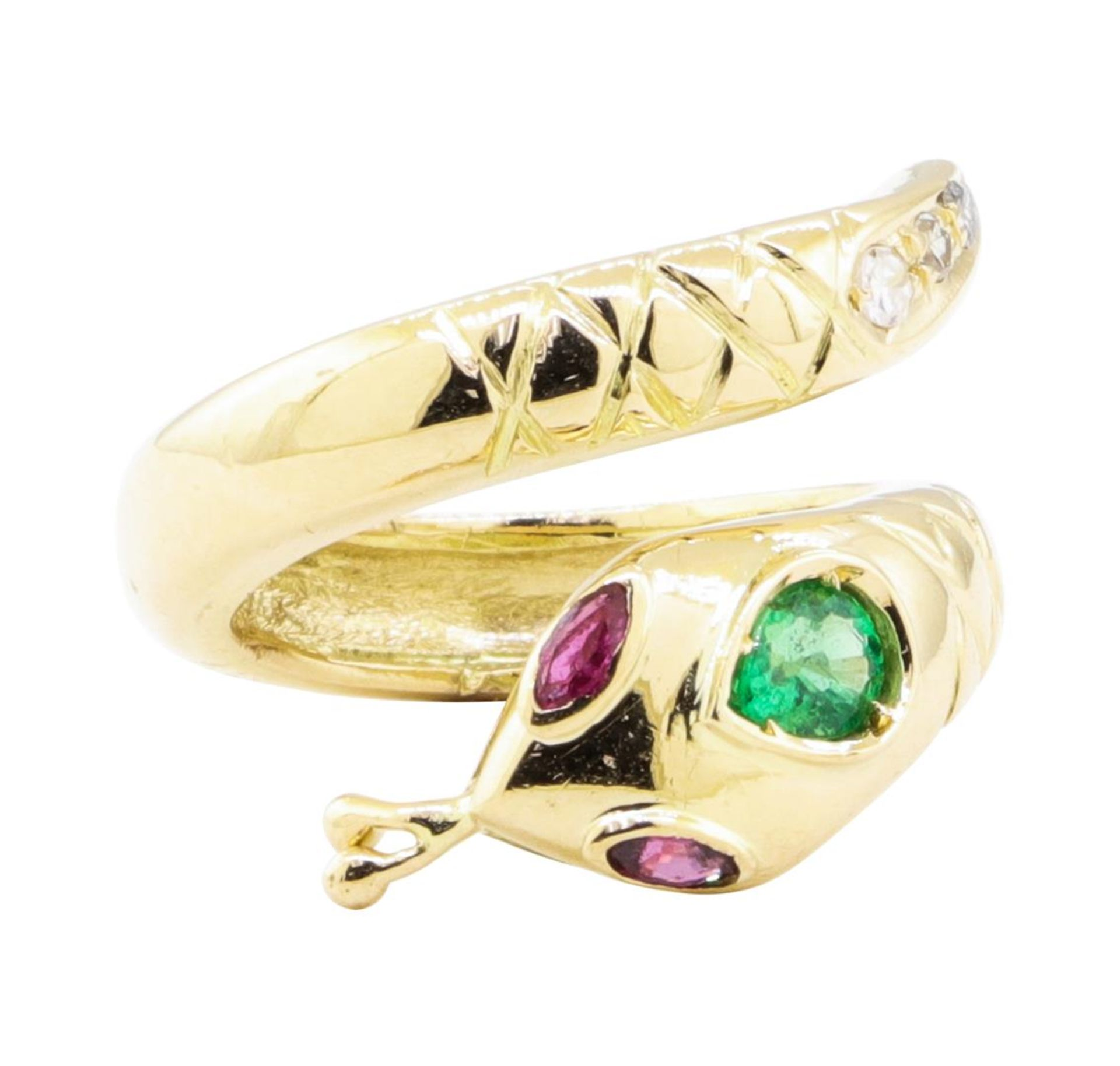 0.66ctw Emerald, Ruby, and Diamond Snake Ring - 14KT Yellow Gold