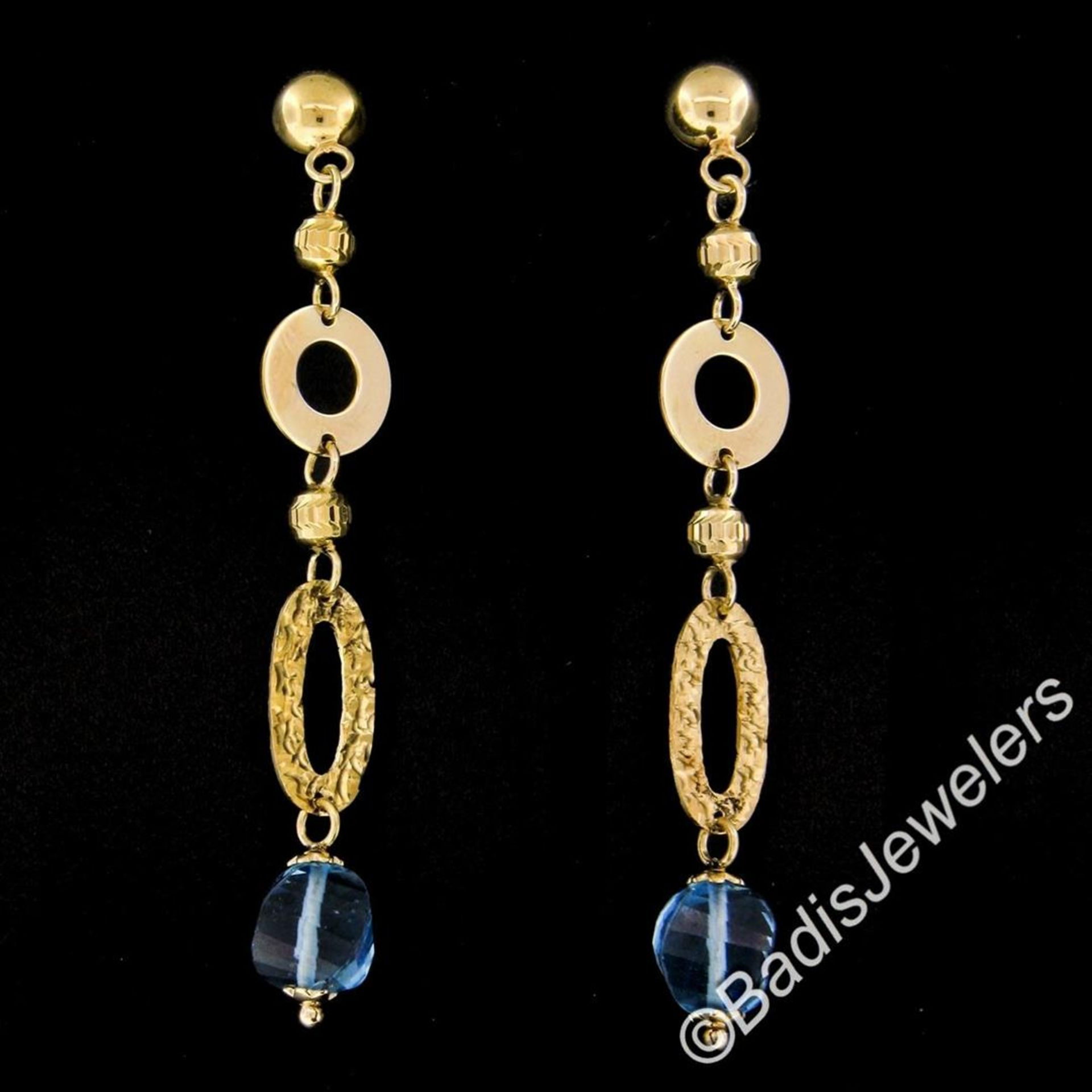 14kt Yellow Gold Briolette Cut Blue Topaz Bead Long Textured Dangle Earrings - Image 2 of 6