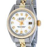 Rolex Ladies 2 Tone White Diamond 26MM Datejust Wristwatch