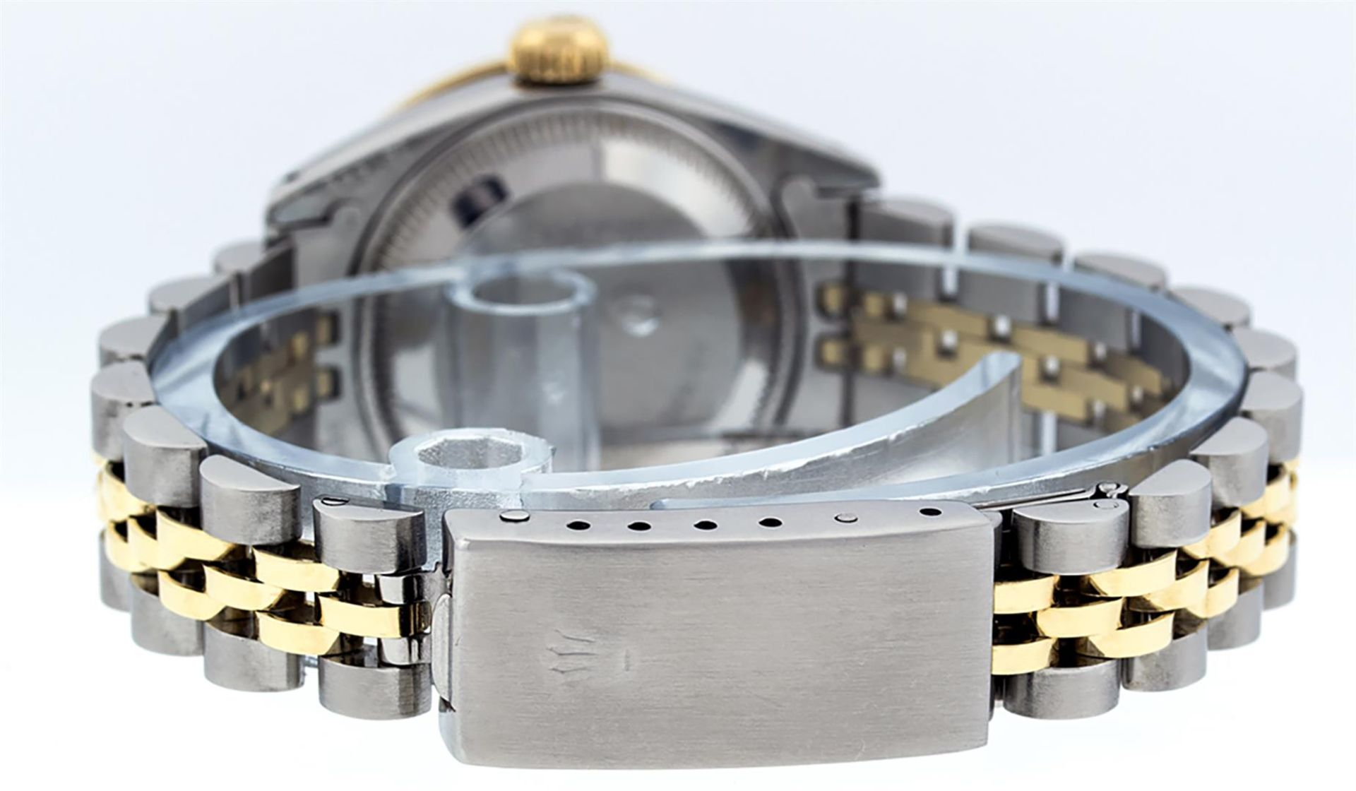 Rolex Ladies 2 Tone Black Lugs & Pyramid Diamond Datejust Wriswatch - Image 5 of 7
