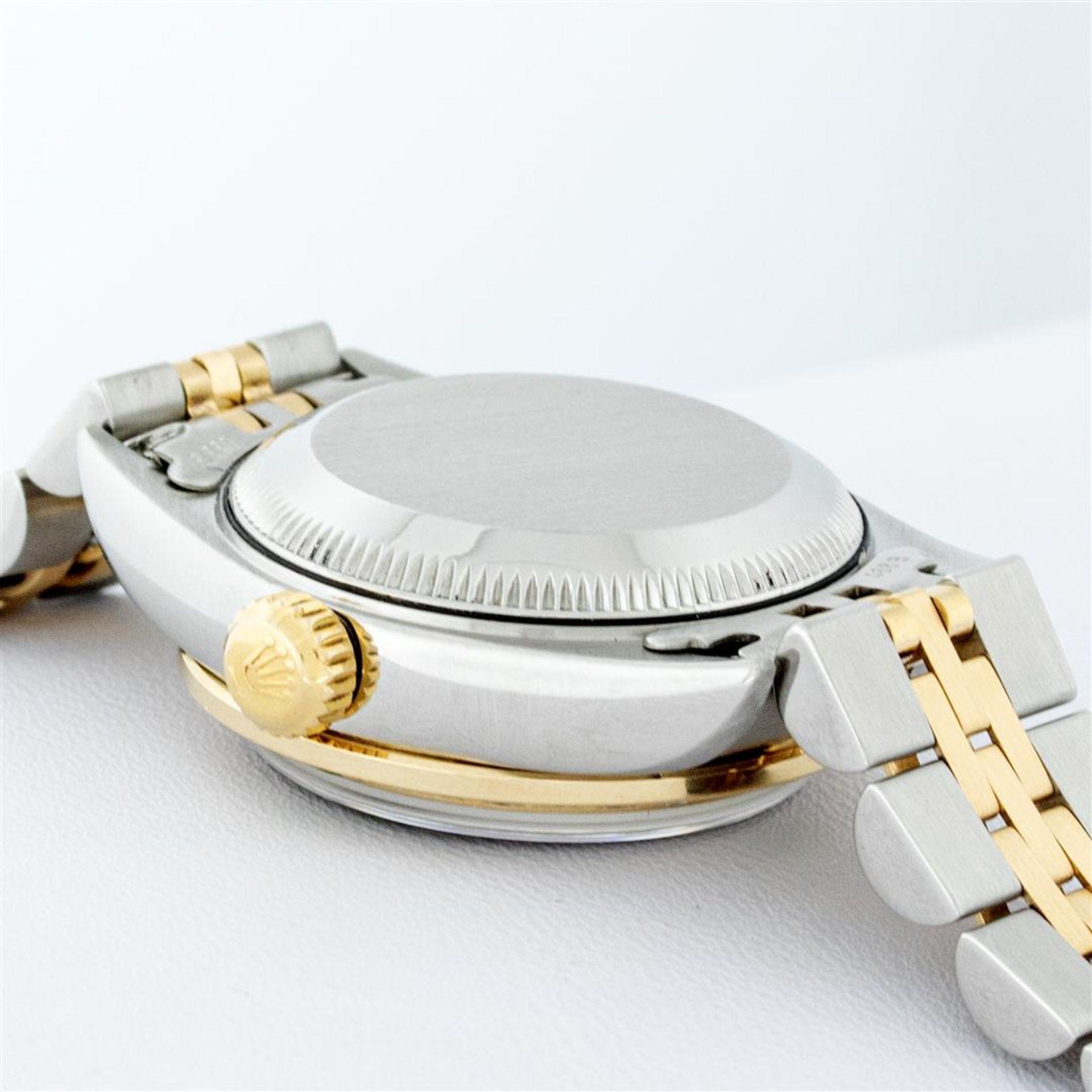 Rolex Ladies 2 Tone 18K Quickset Champagne Diamond & Emerald Datejust Wristwatch - Image 9 of 9