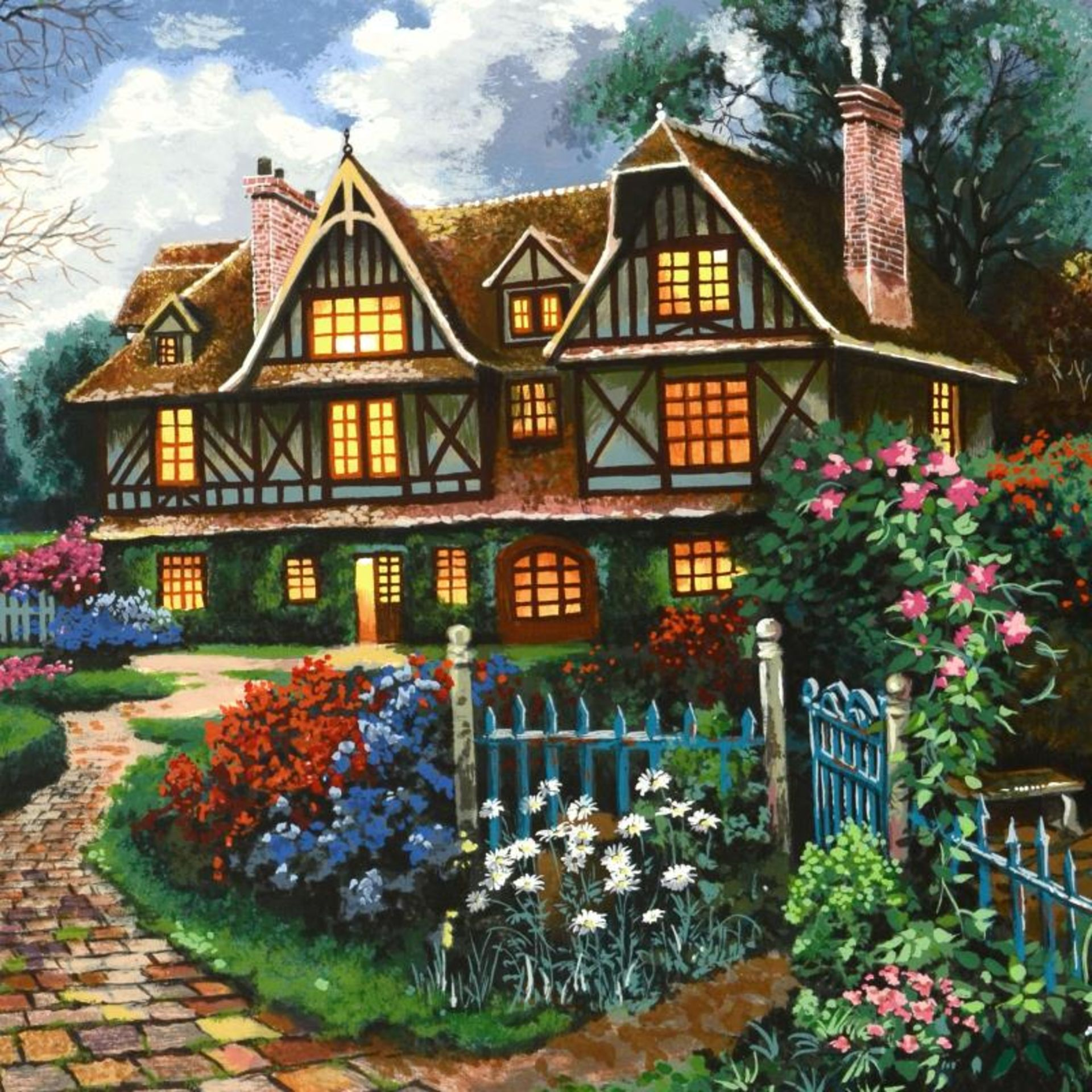 "Anatoly Metlan, ""Country Cottage"" Limited Edition Serigraph, Numbered and Hand S - Image 2 of 2"