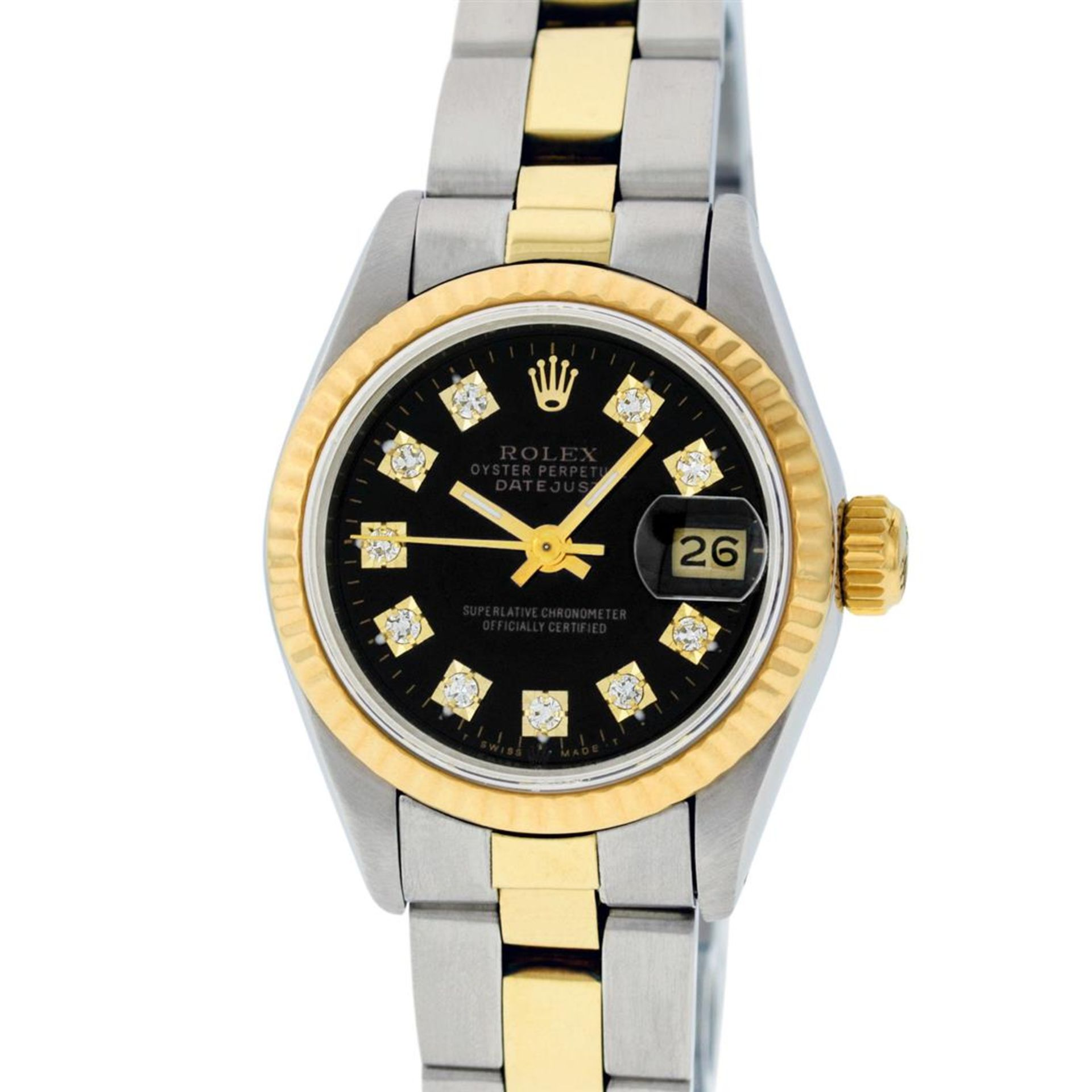 Rolex Ladies 26 Black Diamond Oyster Perpetual Datejust Polished Serviced - Image 2 of 9