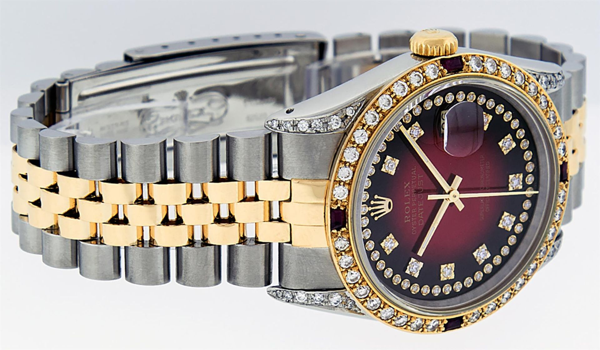 Rolex Mens 2 Tone Lugs Red Vignette Diamond String & Ruby Datejust Wristwatch - Image 4 of 9