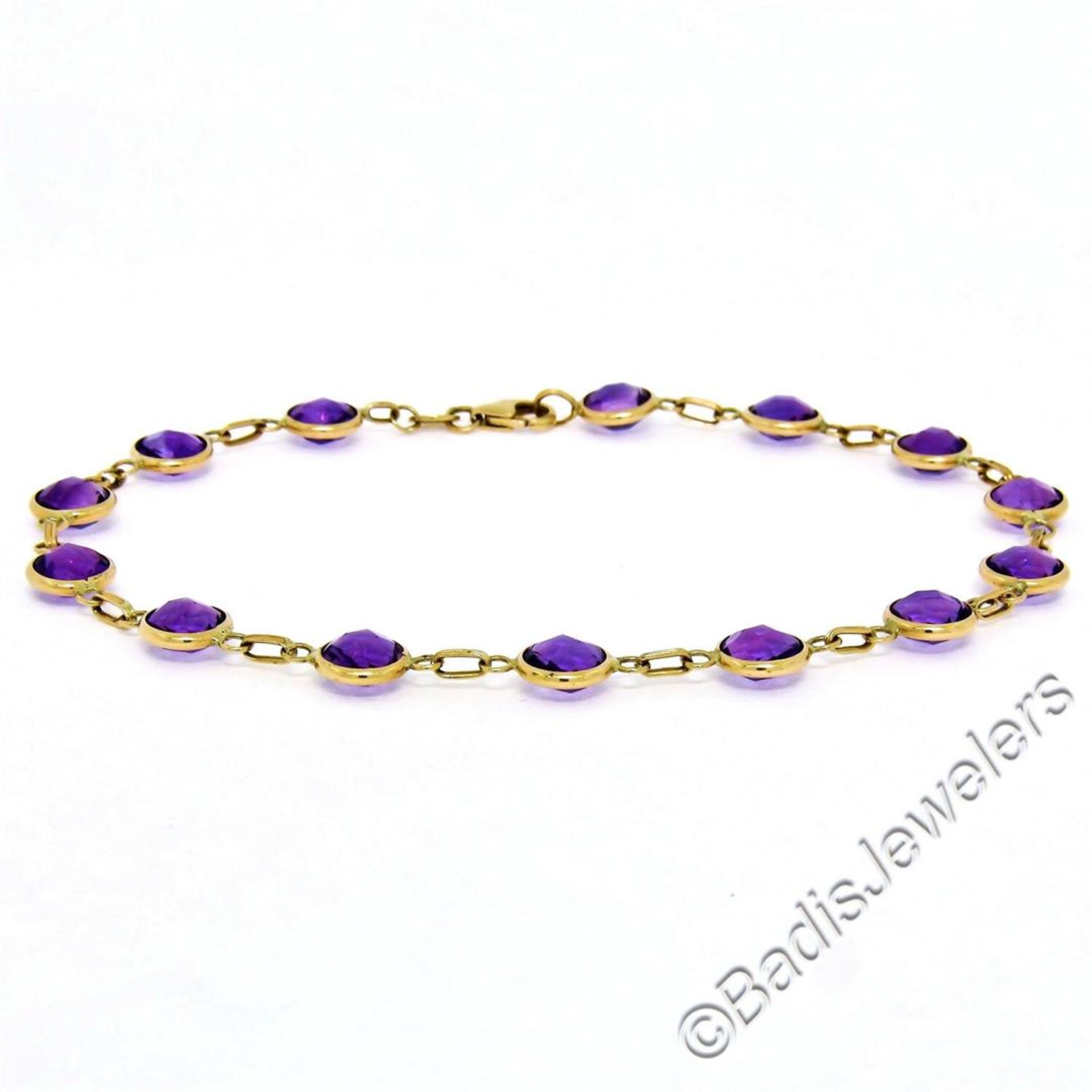 14kt Yellow Gold 10.50ctw Round Checkerboard Amethyst by the Yard Chain Bracelet - Image 2 of 5