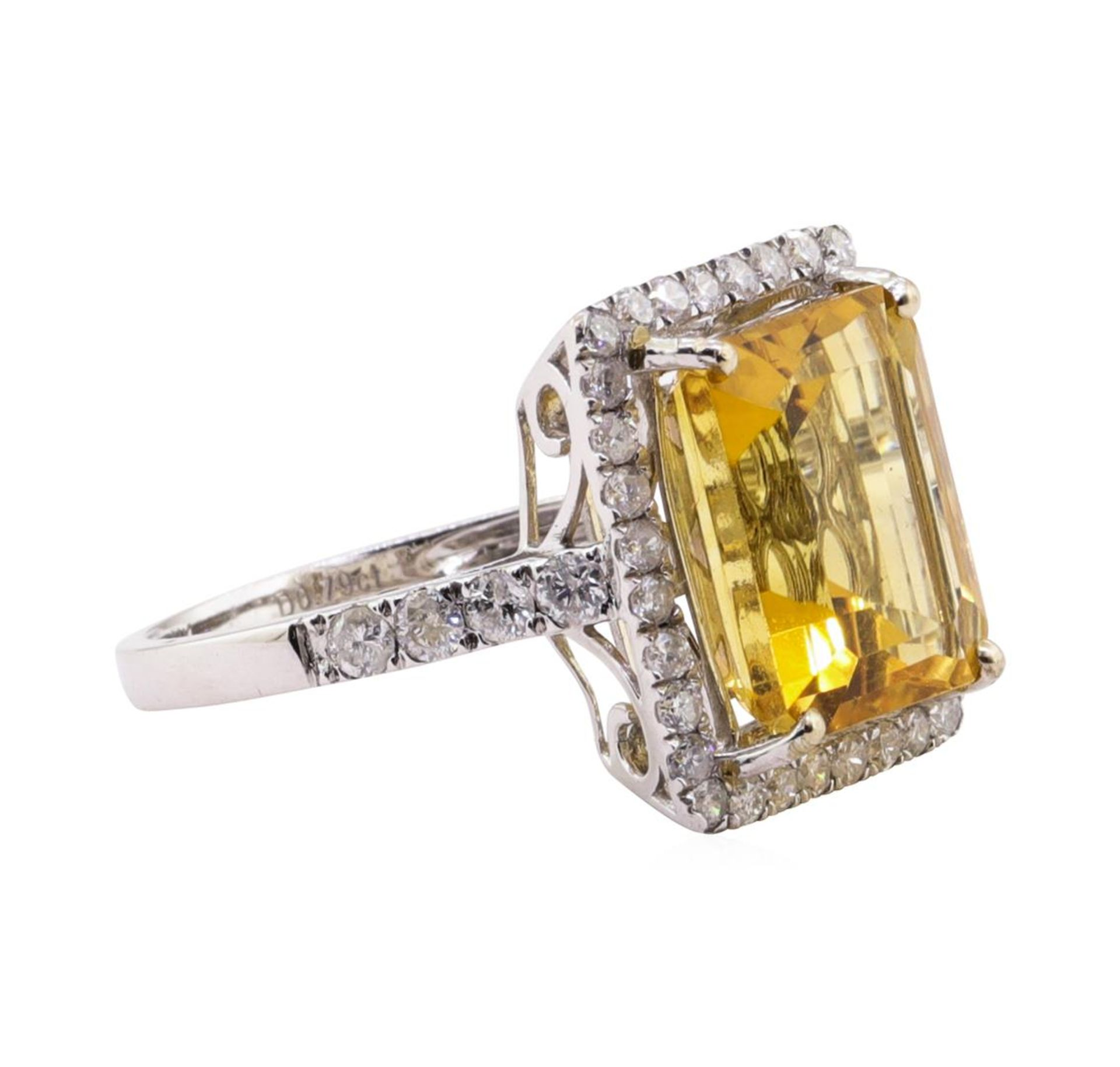6.25ct Citrine and Diamond Ring - 14KT White Gold - Image 2 of 5