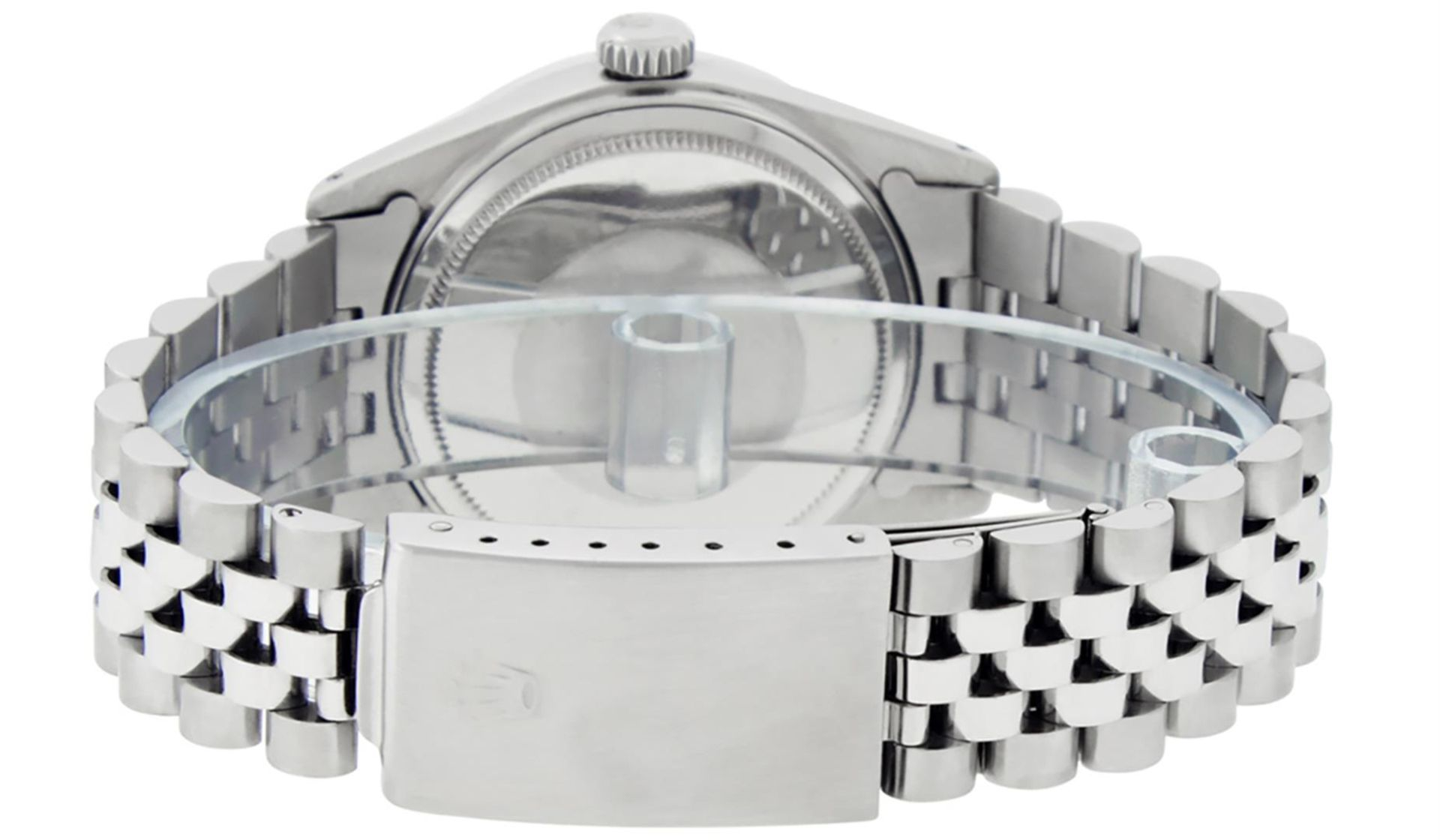 Rolex Mens Stainless Steel MOP Roman 36MM Diamond & Sapphire Datejust Wristwatch - Image 5 of 9