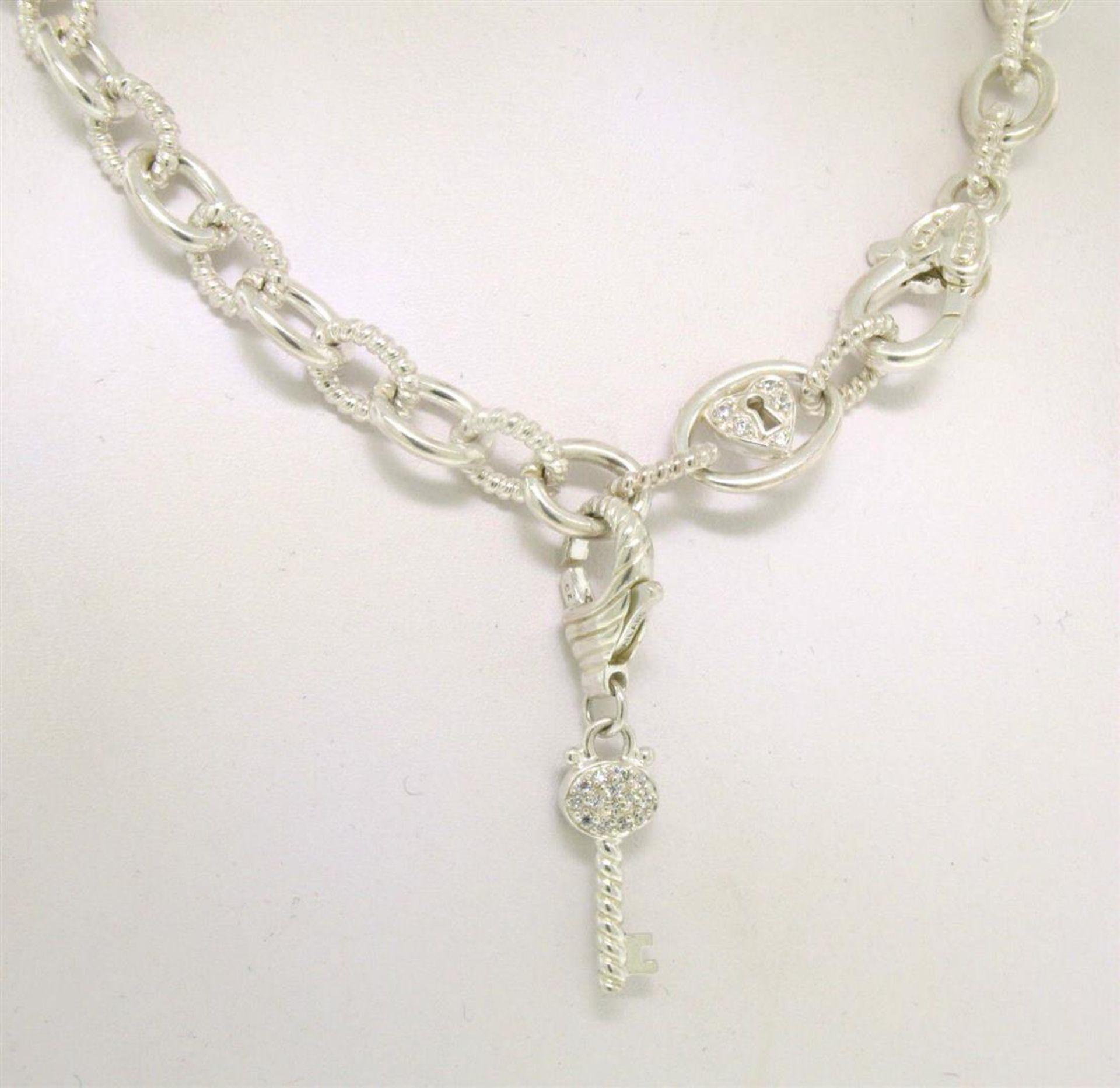 Elaborate JUDITH RIPKA Solid .925 Sterling Silver Chain w/ Diamonique Key Enhanc - Image 2 of 3