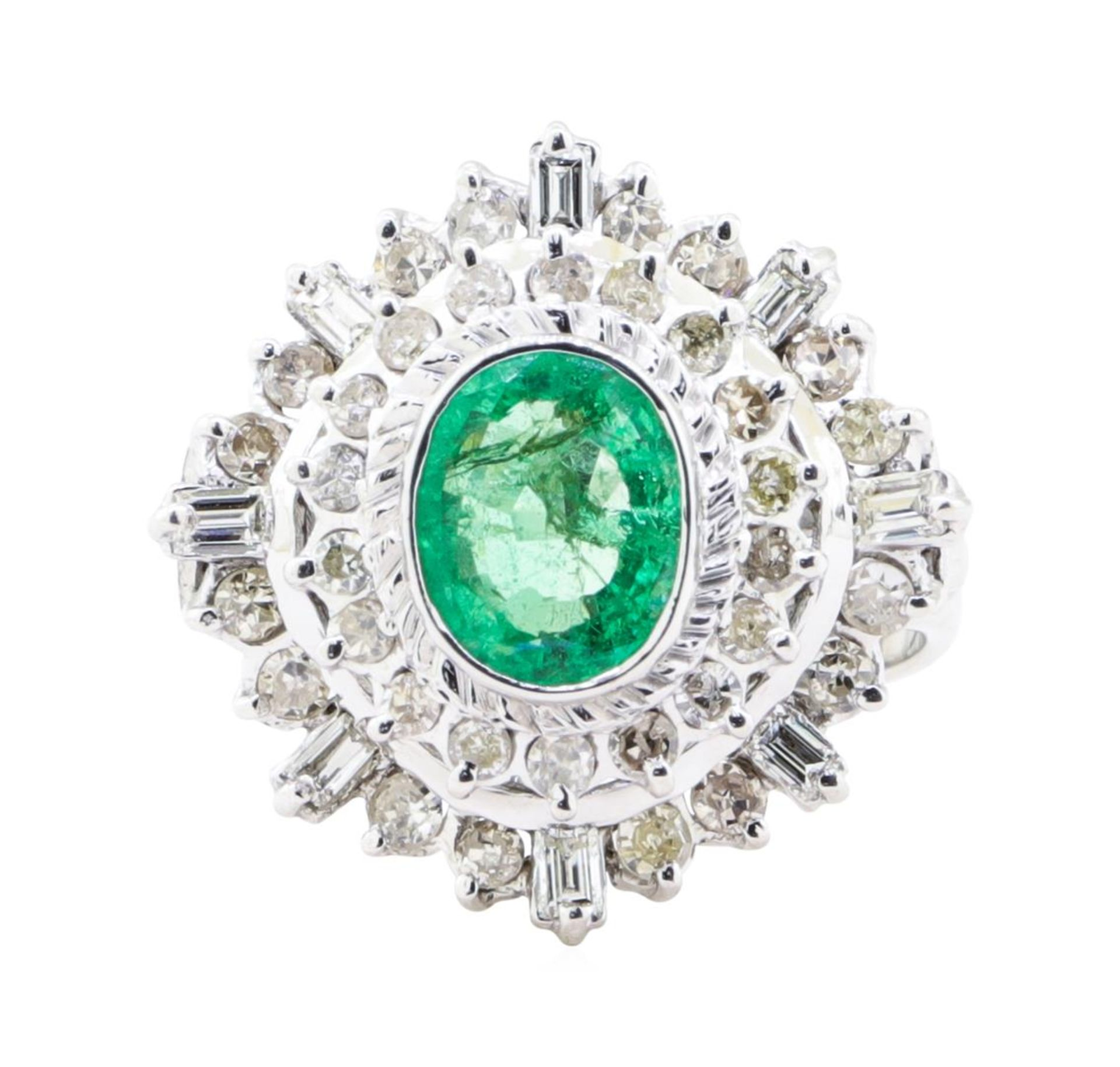 2.84 ctw Emerald And Diamond Double Halo Ring - 14KT White Gold - Image 2 of 5