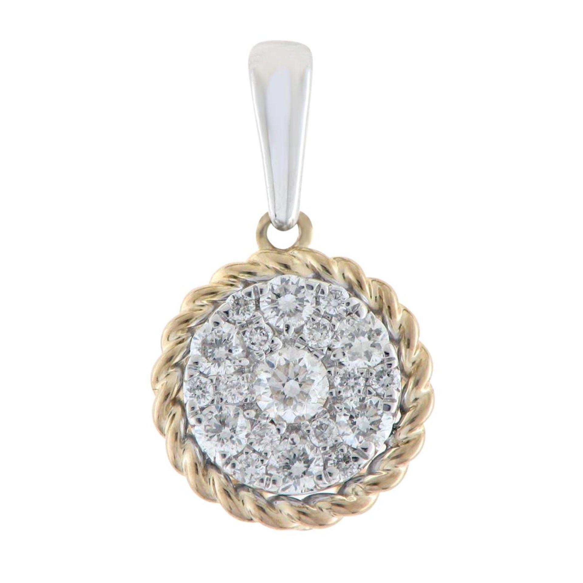14K Two-Tone Gold 0.34CTW Diamond Pendant Necklace, (I1-I2/H-I)