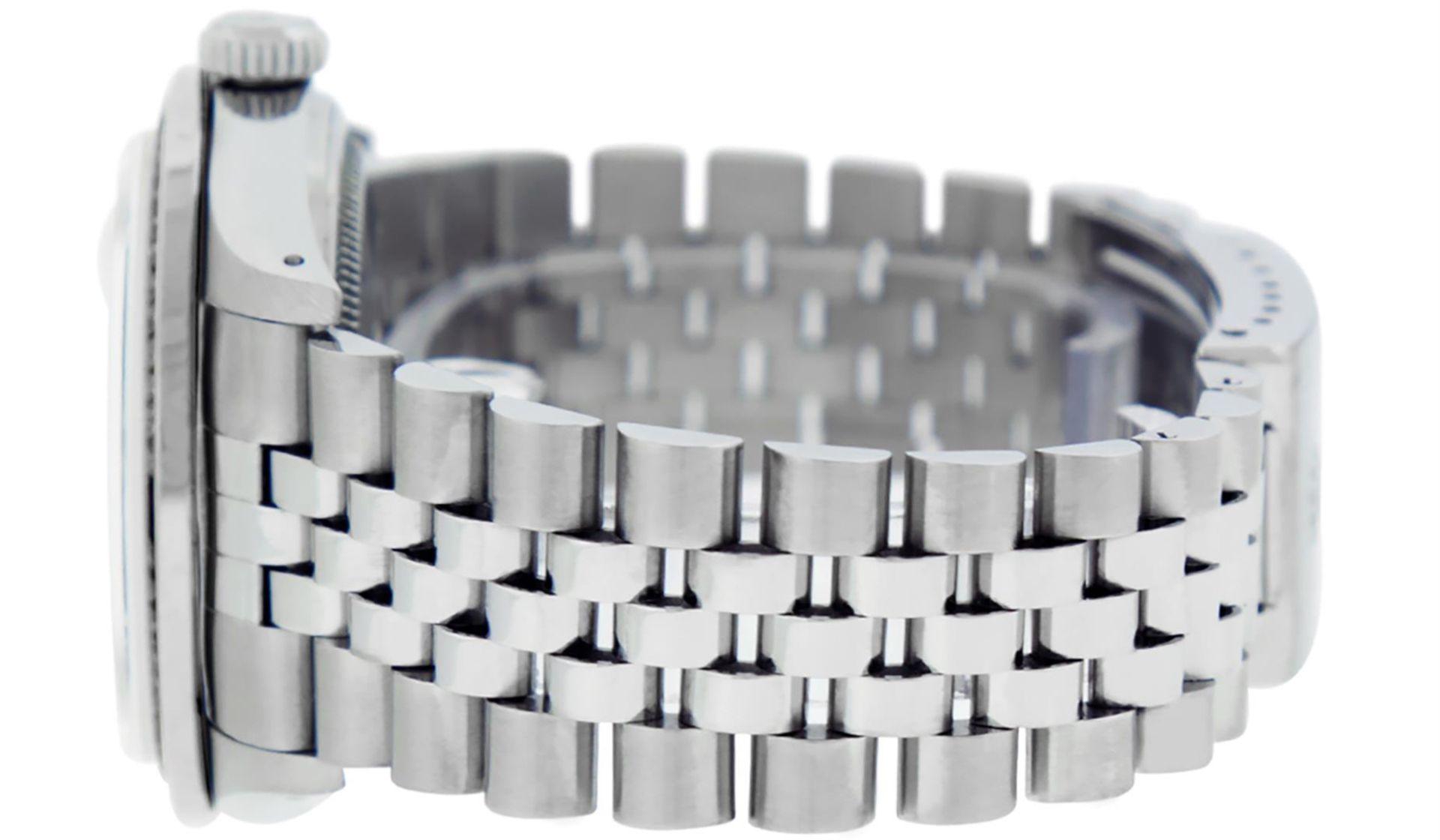 Rolex Mens SS Blue Vignette Diamond & Ruby Channel Set Diamond Datejust - Image 8 of 9