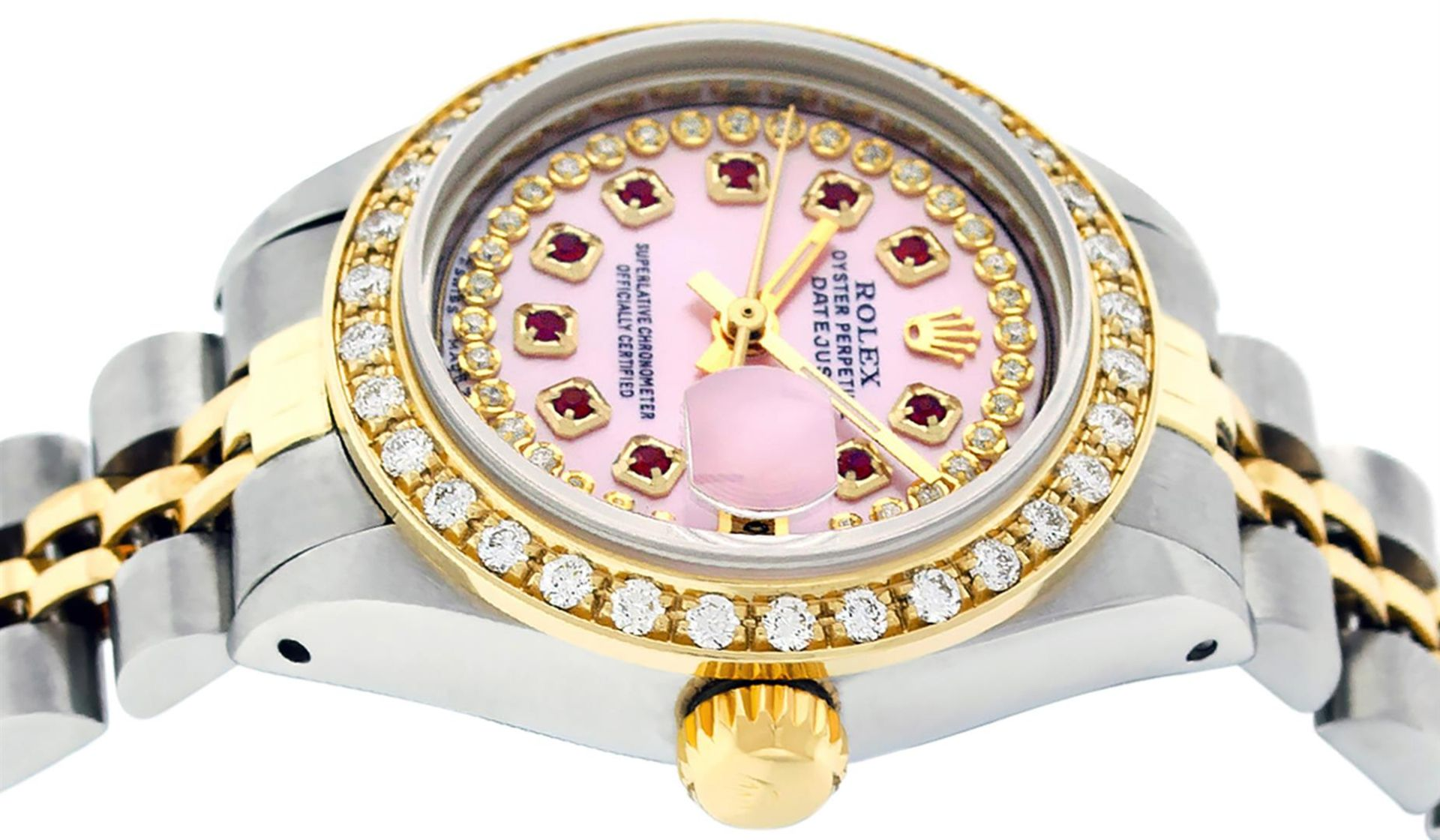 Rolex Ladies 2 Tone Pink MOP Ruby String Diamond Datejust Wristwatch - Image 3 of 9