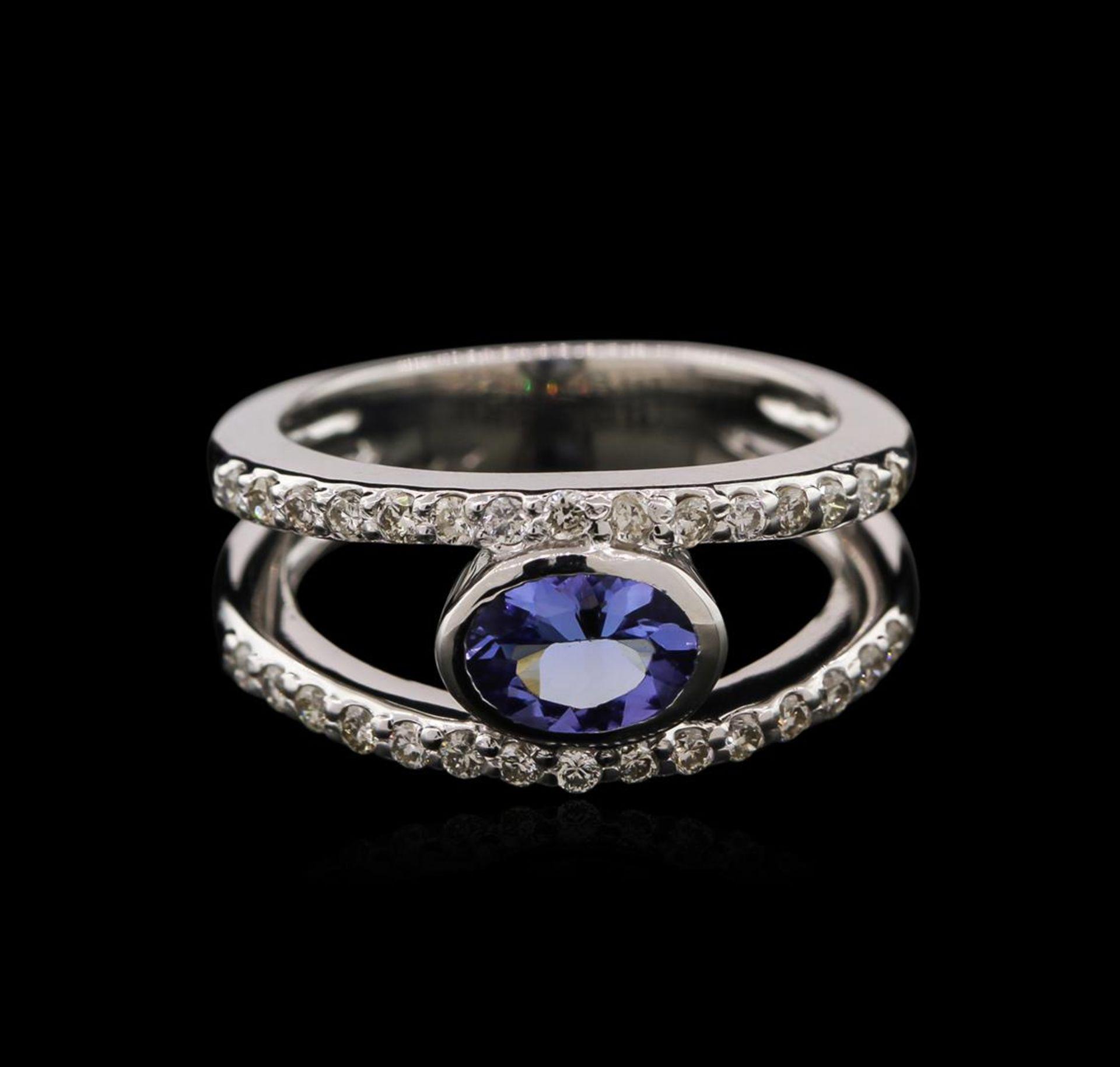 0.74 ctw Tanzanite and Diamond Ring - 14KT White Gold - Image 2 of 2