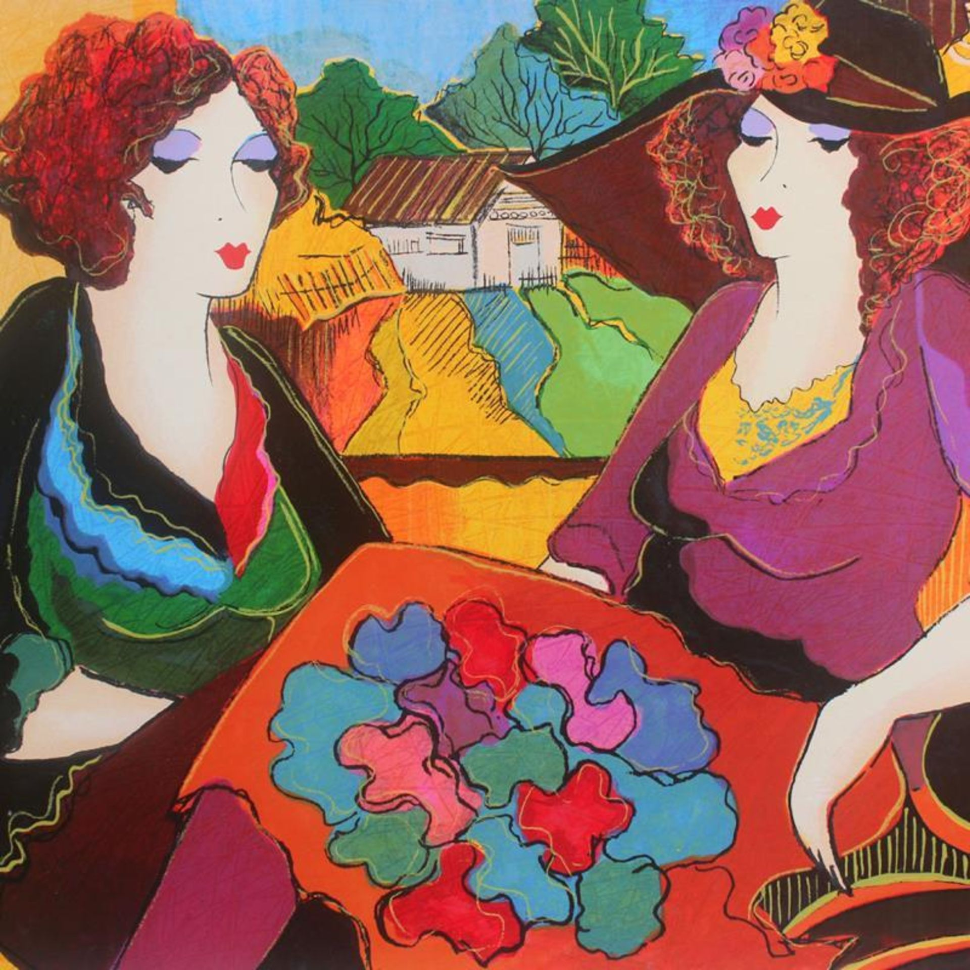 "Patricia Govezensky, ""Villa Saint Tropez"" Hand Signed Limited Edition Serigraph - Image 2 of 2"