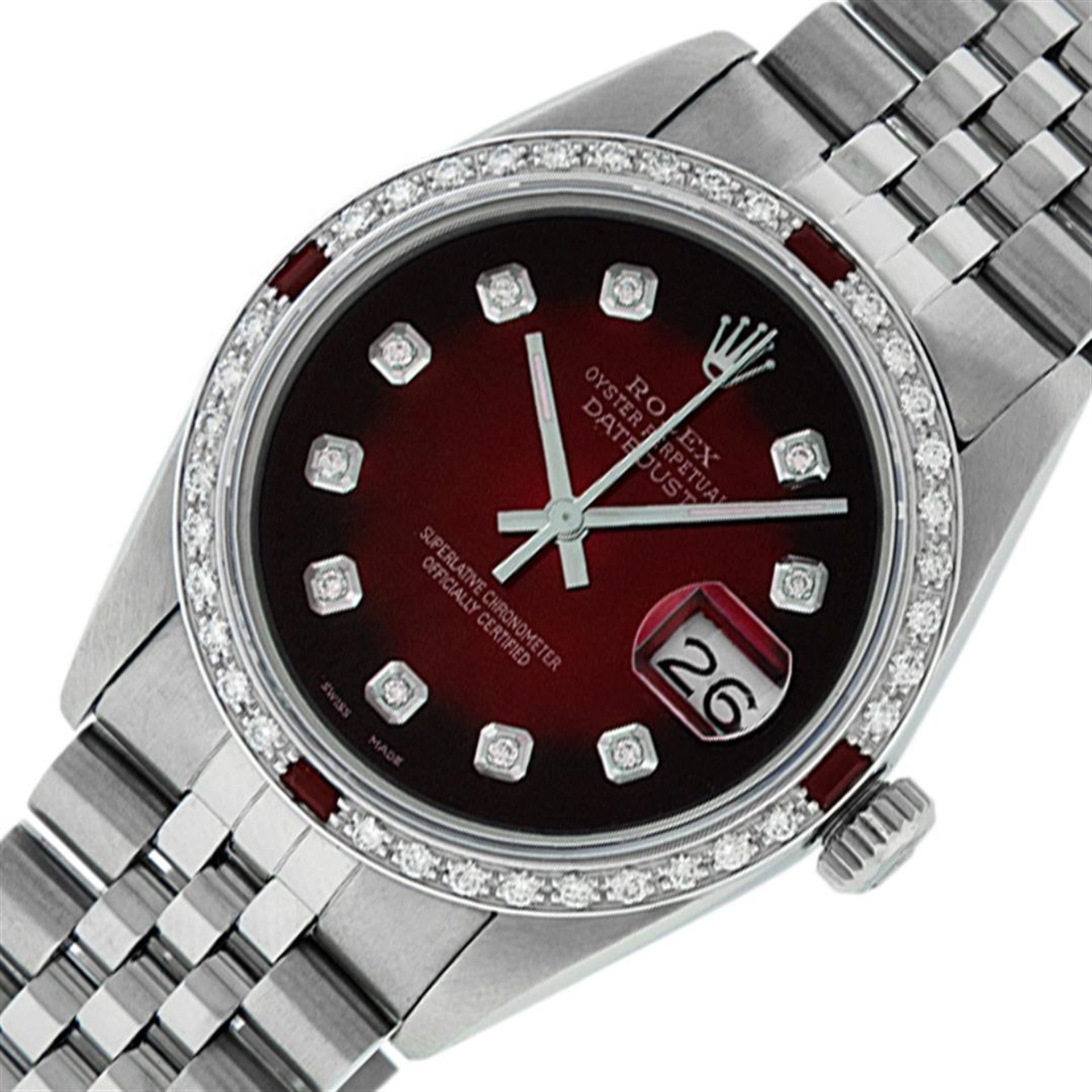 Rolex Mens Stainless Steel Red Vignette Diamond & Ruby Datejust Wristwatch - Image 3 of 9