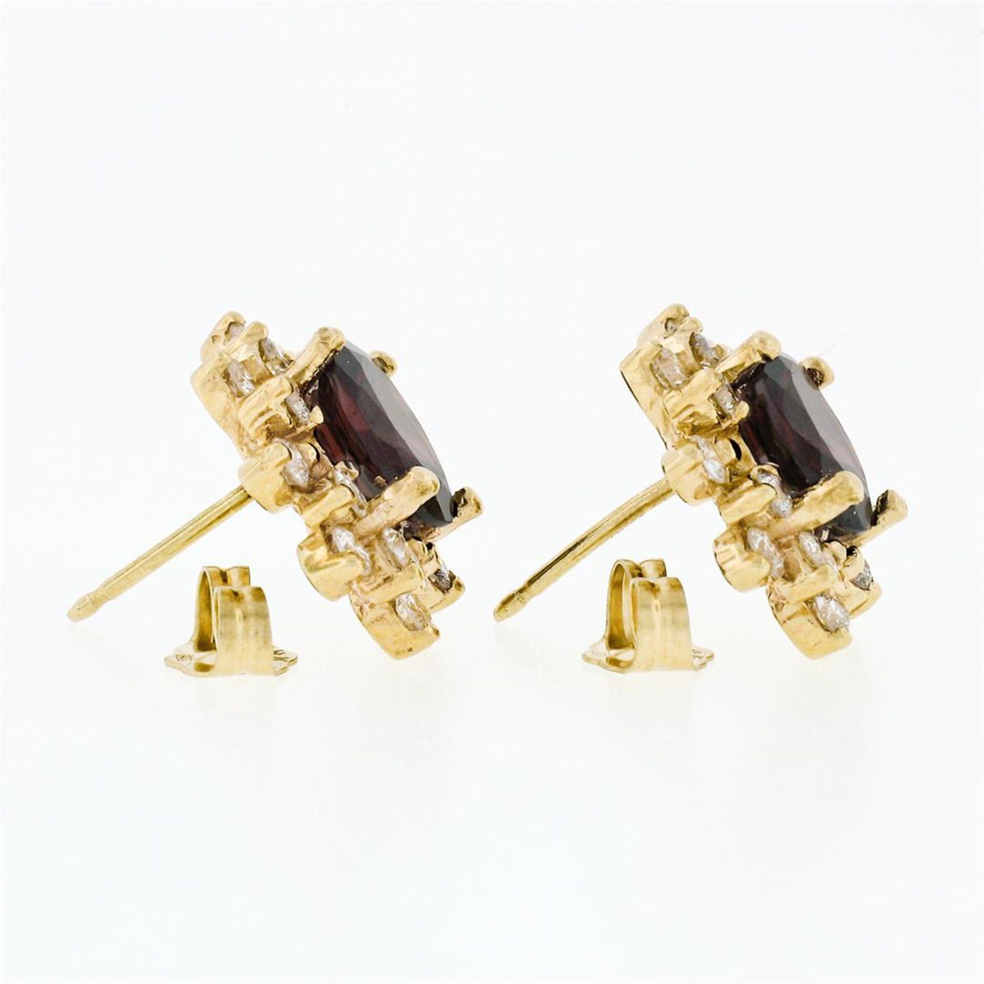 14k Yellow Gold 3.80ctw Oval Garnet & Layered Round Diamond Halo Stud Earrings - Image 4 of 5