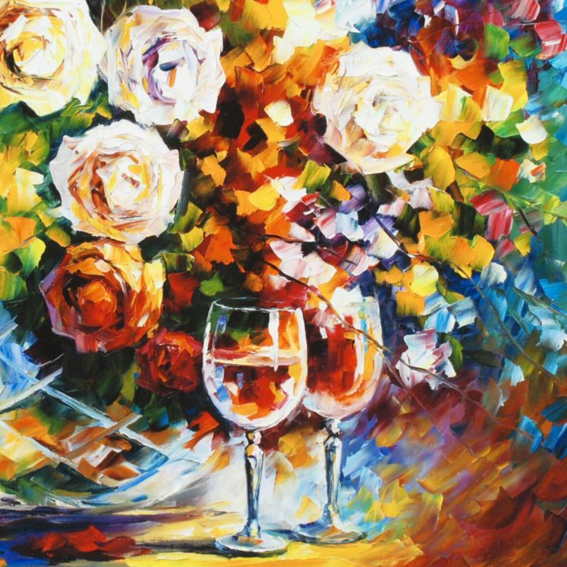 """Leonid Afremov (1955-2019) """"Roses and Wine"""" Limited Edition Giclee on Canvas, Nu - Image 2 of 3"""