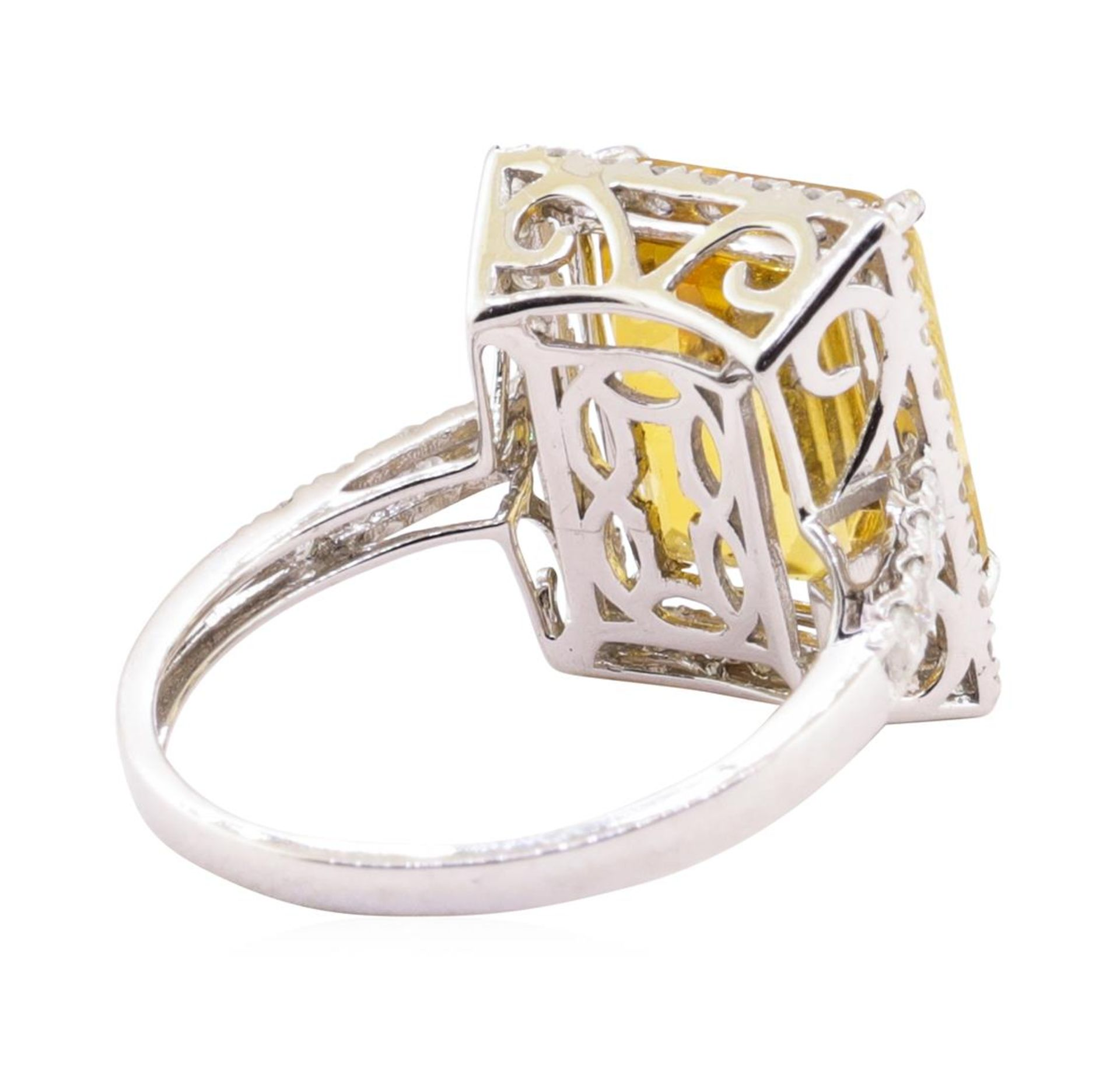 6.25ct Citrine and Diamond Ring - 14KT White Gold - Image 3 of 5
