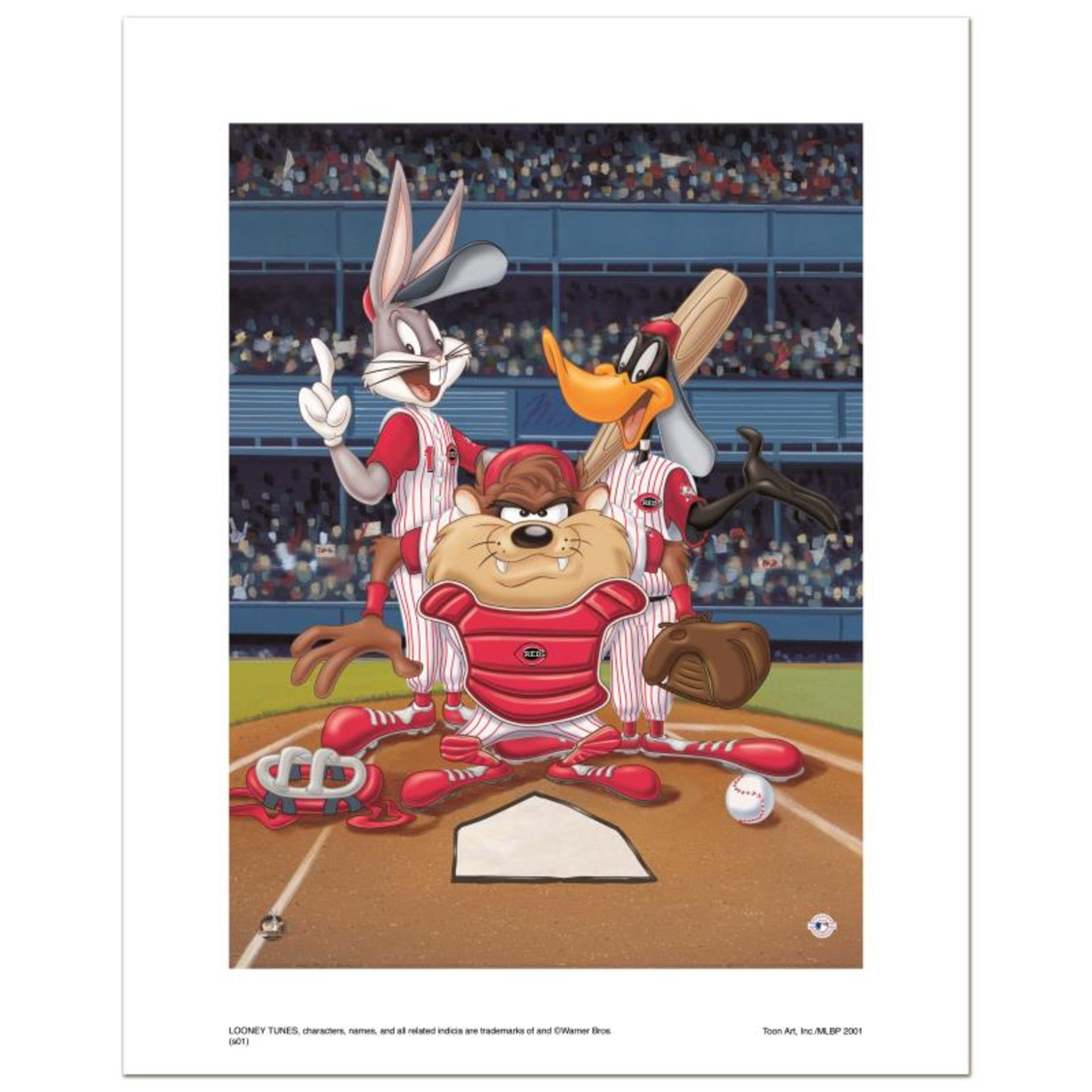 """""""At the Plate (Reds)"""" Numbered Limited Edition Giclee from Warner Bros. with Cer"""