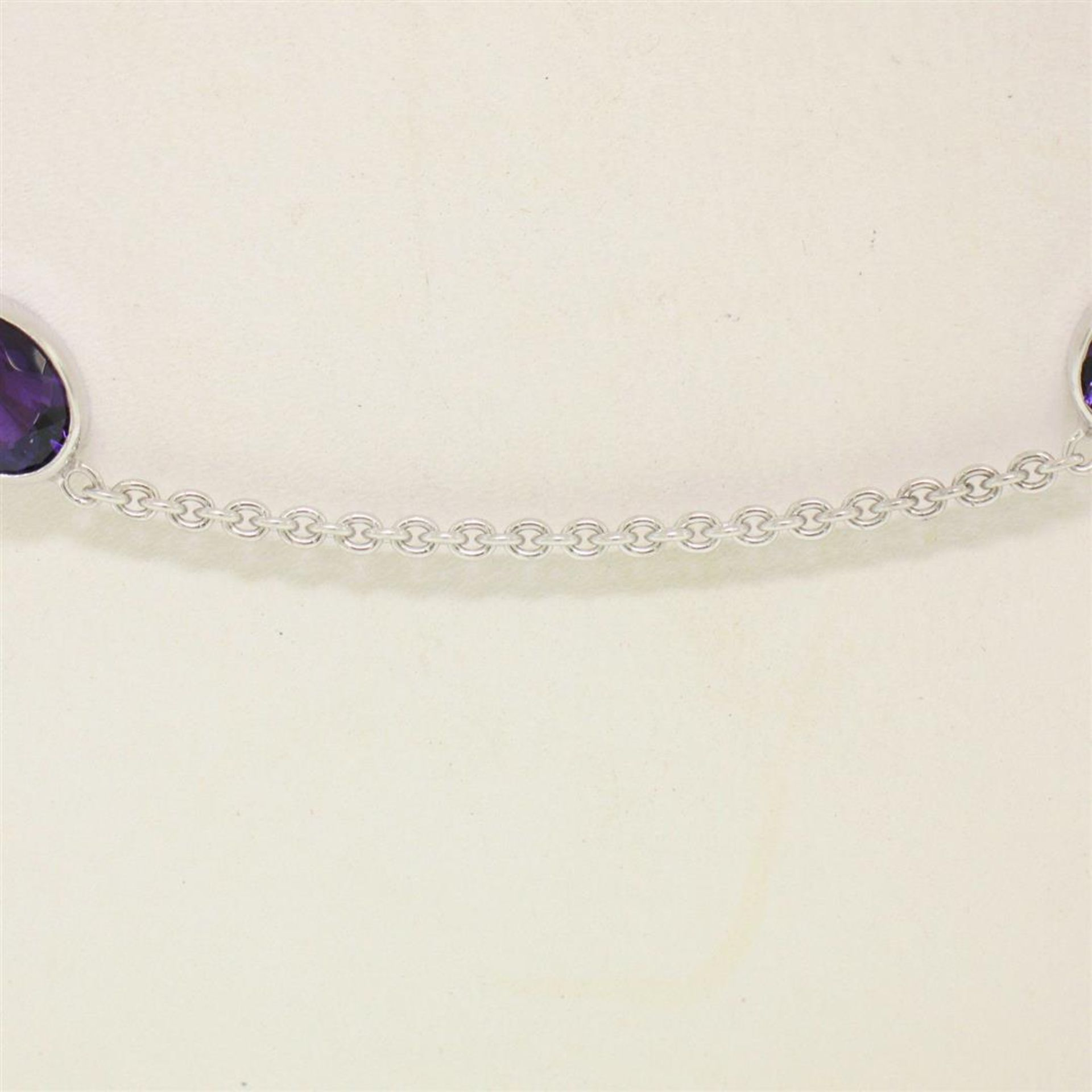 """14k White Gold 8 ctw 8 Station Amethyst by the Yard 20"""" Cable Link Chain Necklac - Image 3 of 7"""