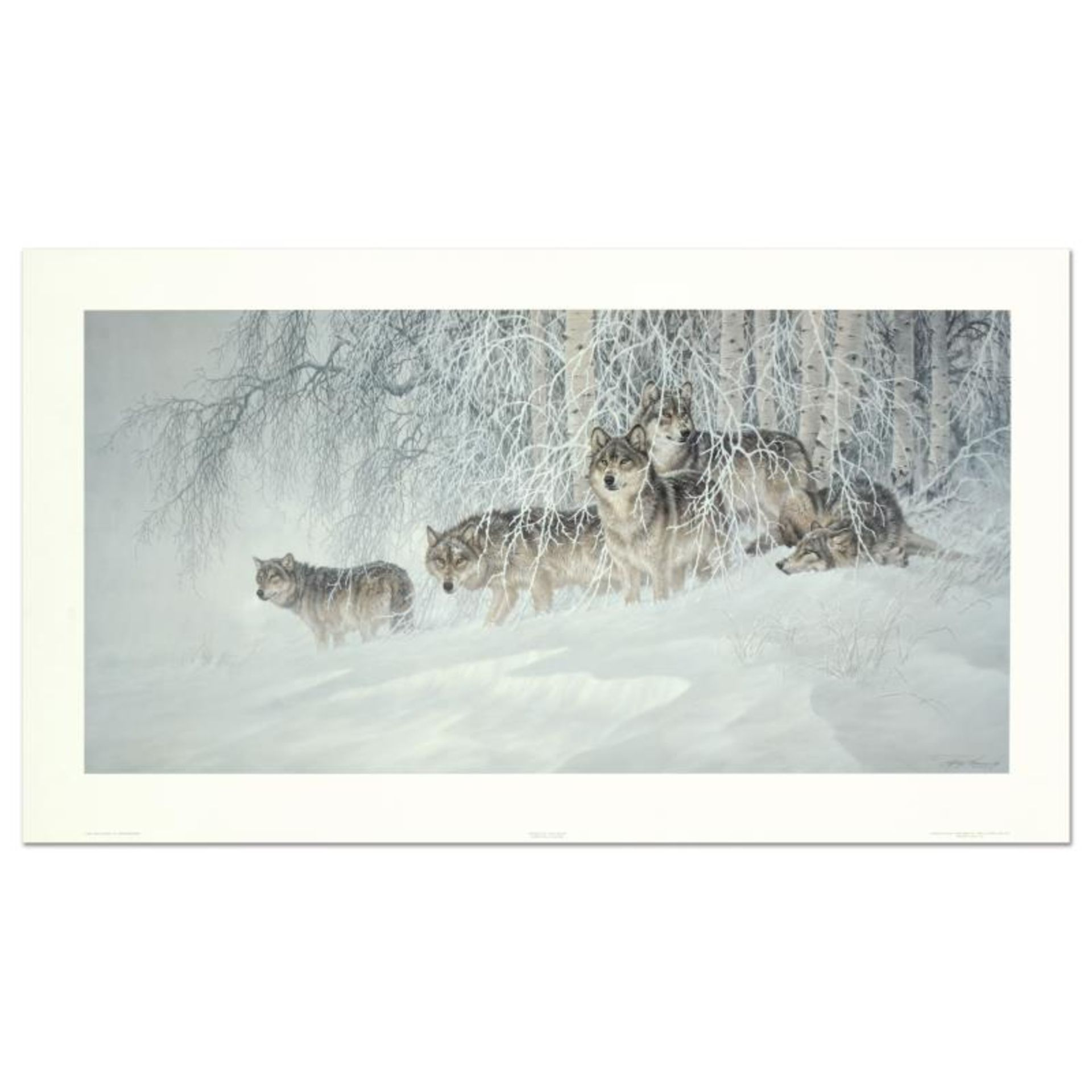 """Larry Fanning (1938-2014), """"Winter's Lace - Gray Wolves"""" Limited Edition Lithogr"""