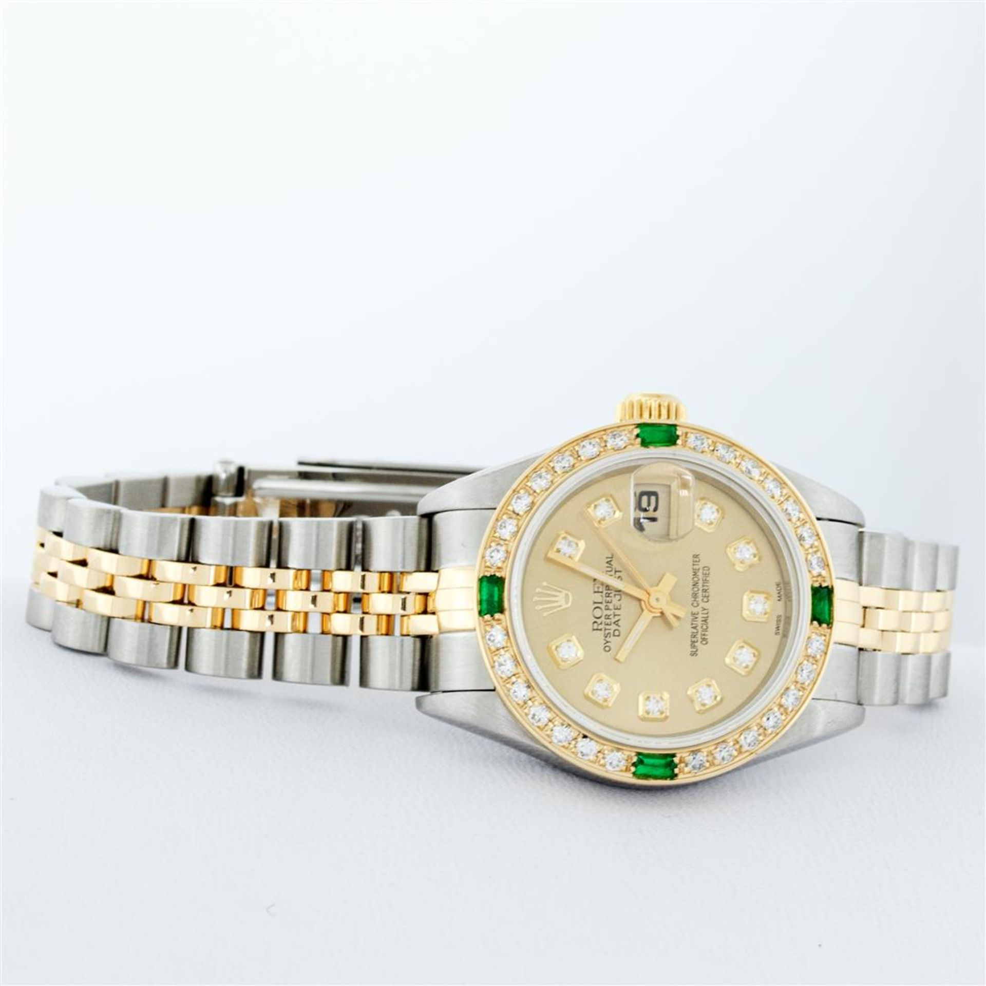 Rolex Ladies 2 Tone 18K Quickset Champagne Diamond & Emerald Datejust Wristwatch - Image 4 of 9